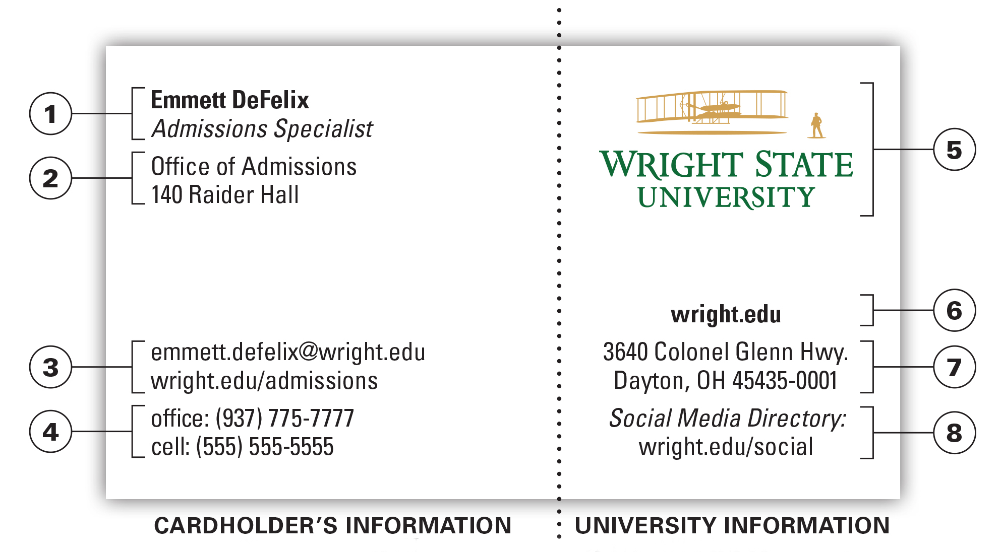 University Business Card | The Wright State University Brand Intended For University Of Dayton Class Schedule Blank Template