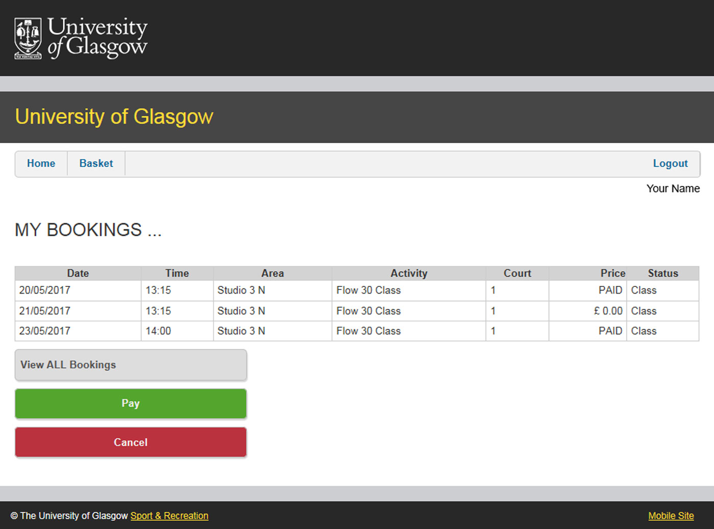 University Of Glasgow - Myglasgow - Sport - Classes within University Of Glasgow Schedule A