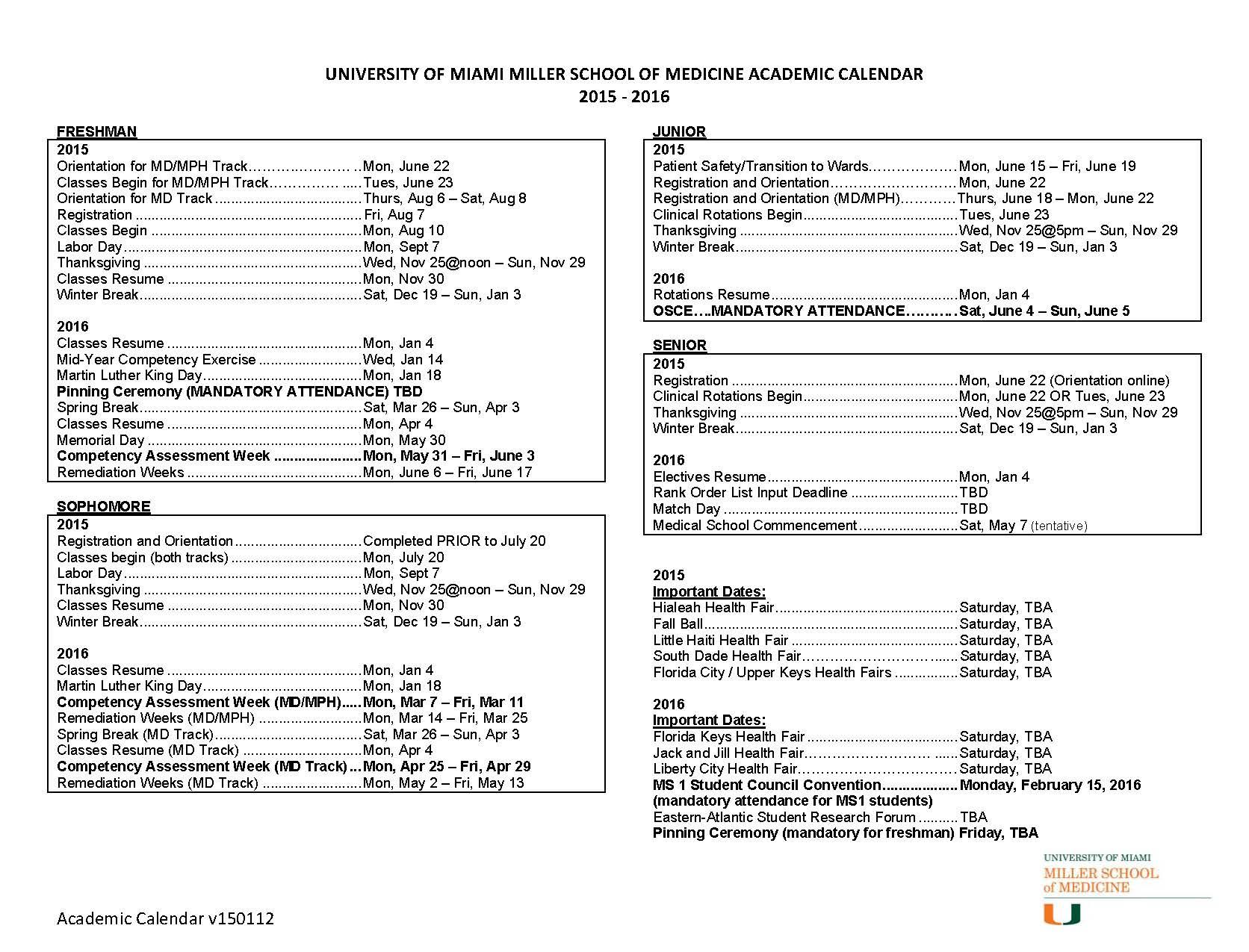 University Of Miami Calender For Miami Of Ohio Academic Calendar