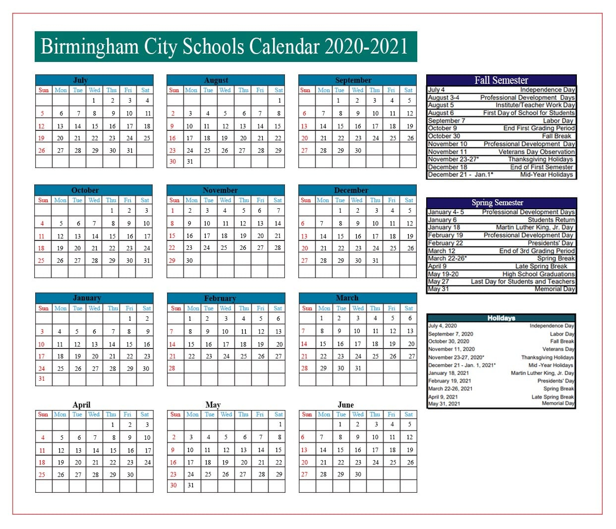 2019 - 2020 Academic Calendar - Student Support Services ...