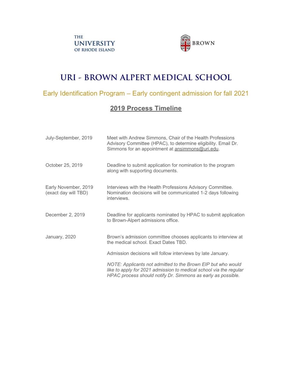 Uri Brown Early Identification Program Within Uri Acadmic Year 2021 – 2020 Schedule