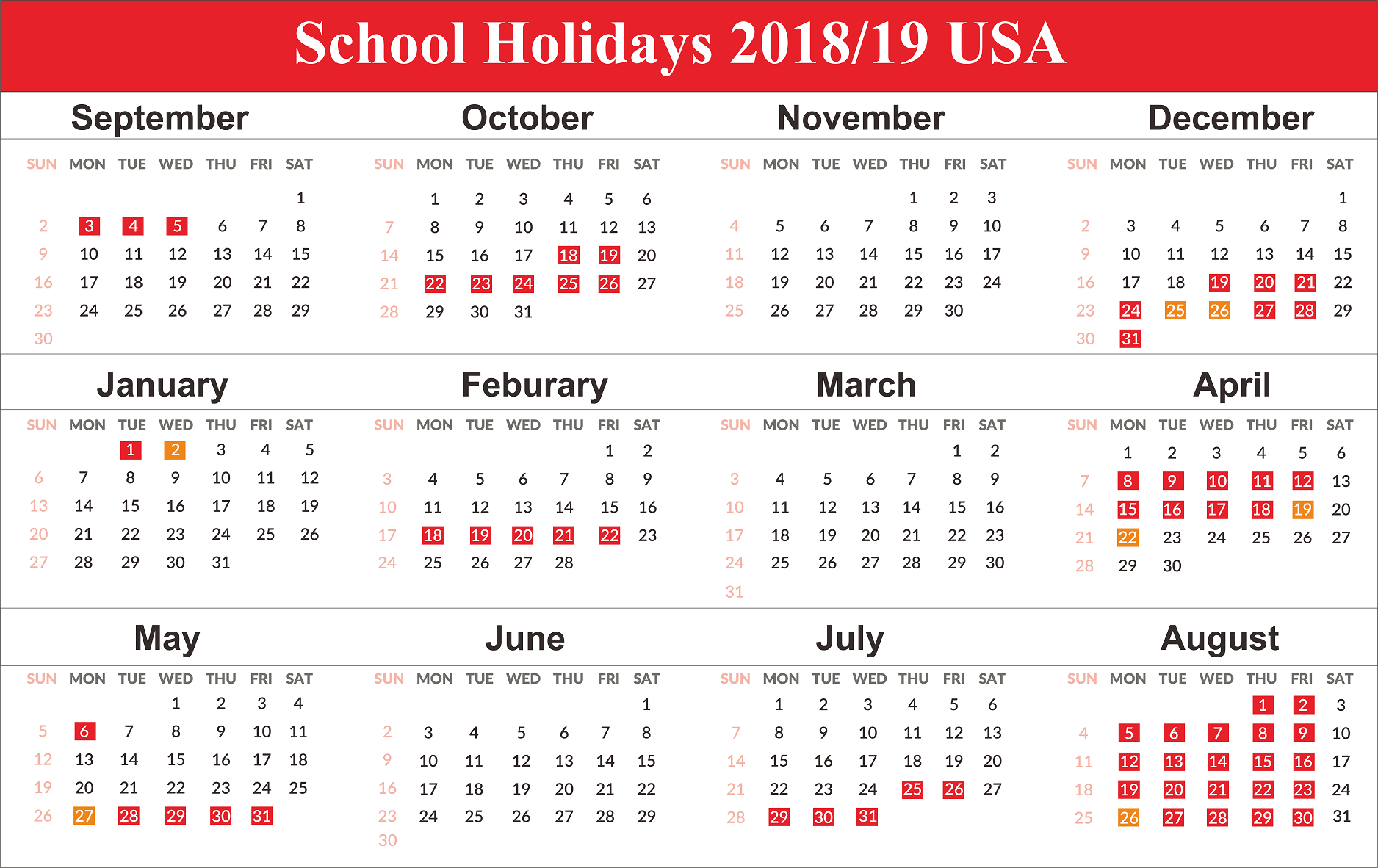 Us Holidays 2020 | School Calendar, School Holiday Calendar with Uri Academic Calendar Holiday