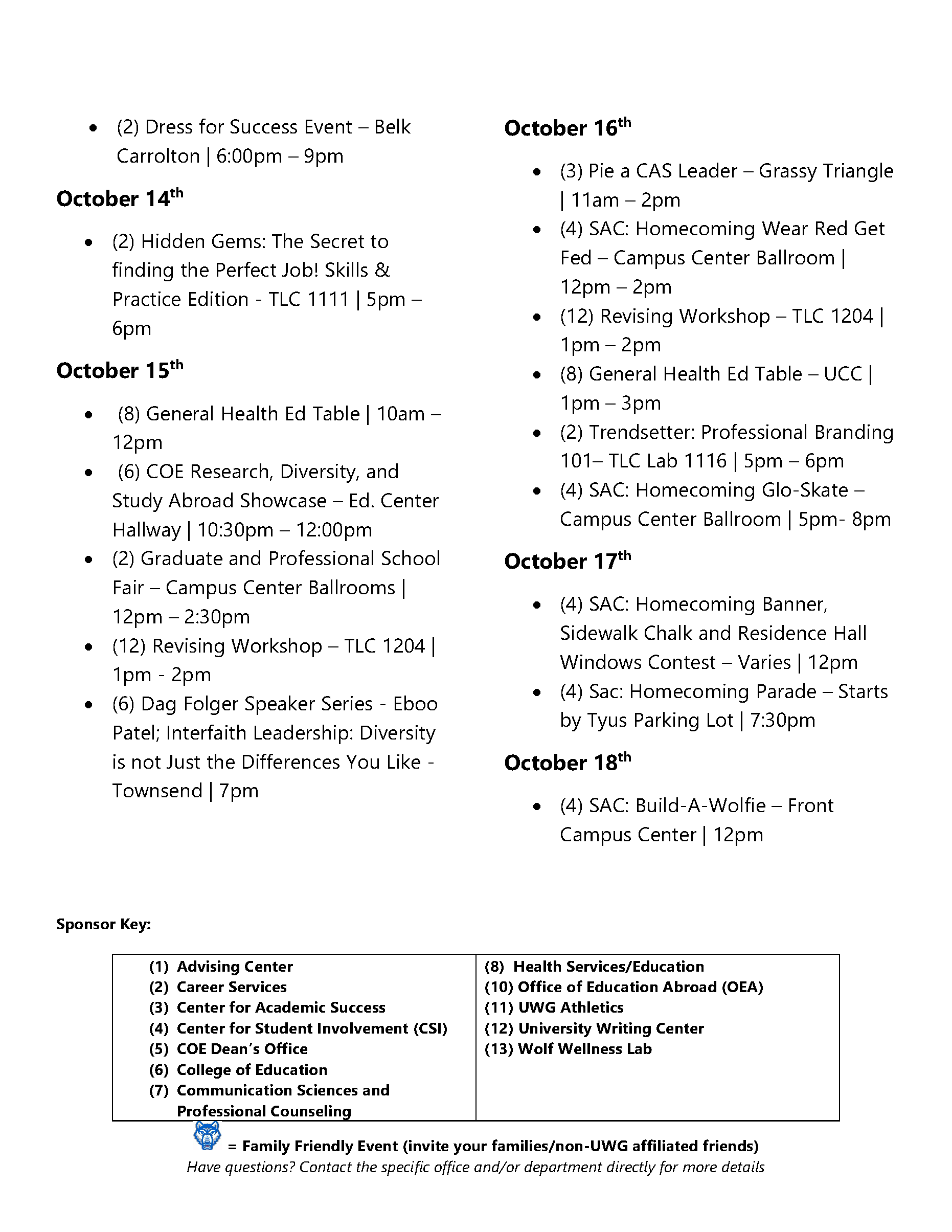 Uwg | Monthly Activity Calendar throughout University Of West Georgia Academic Calendar