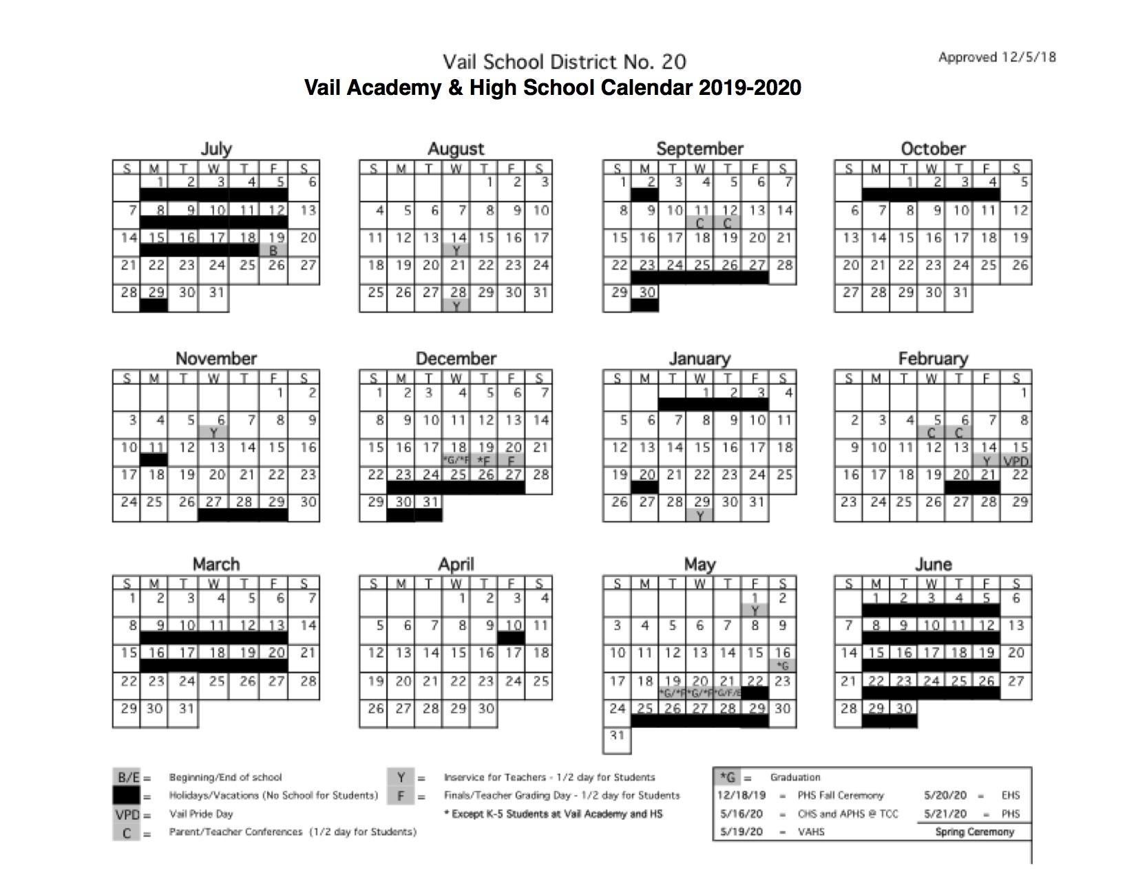 Vail Academy And High School | Vahs 2019 2020 Student Calendar Throughout Arizona State University School Calendar 2021