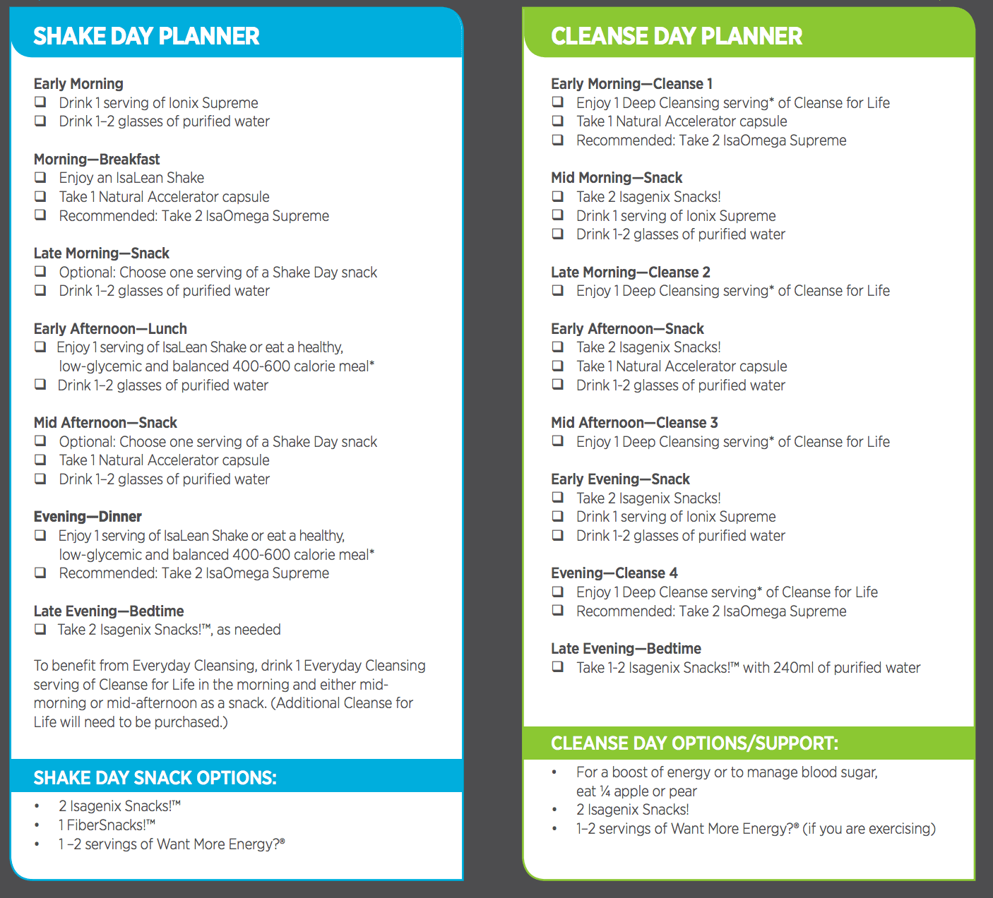 Vimpat Schedule Drug: Isagenix Shake And Cleanse Pak Schedule For Isagenix Cleanse Day Schedule Printable