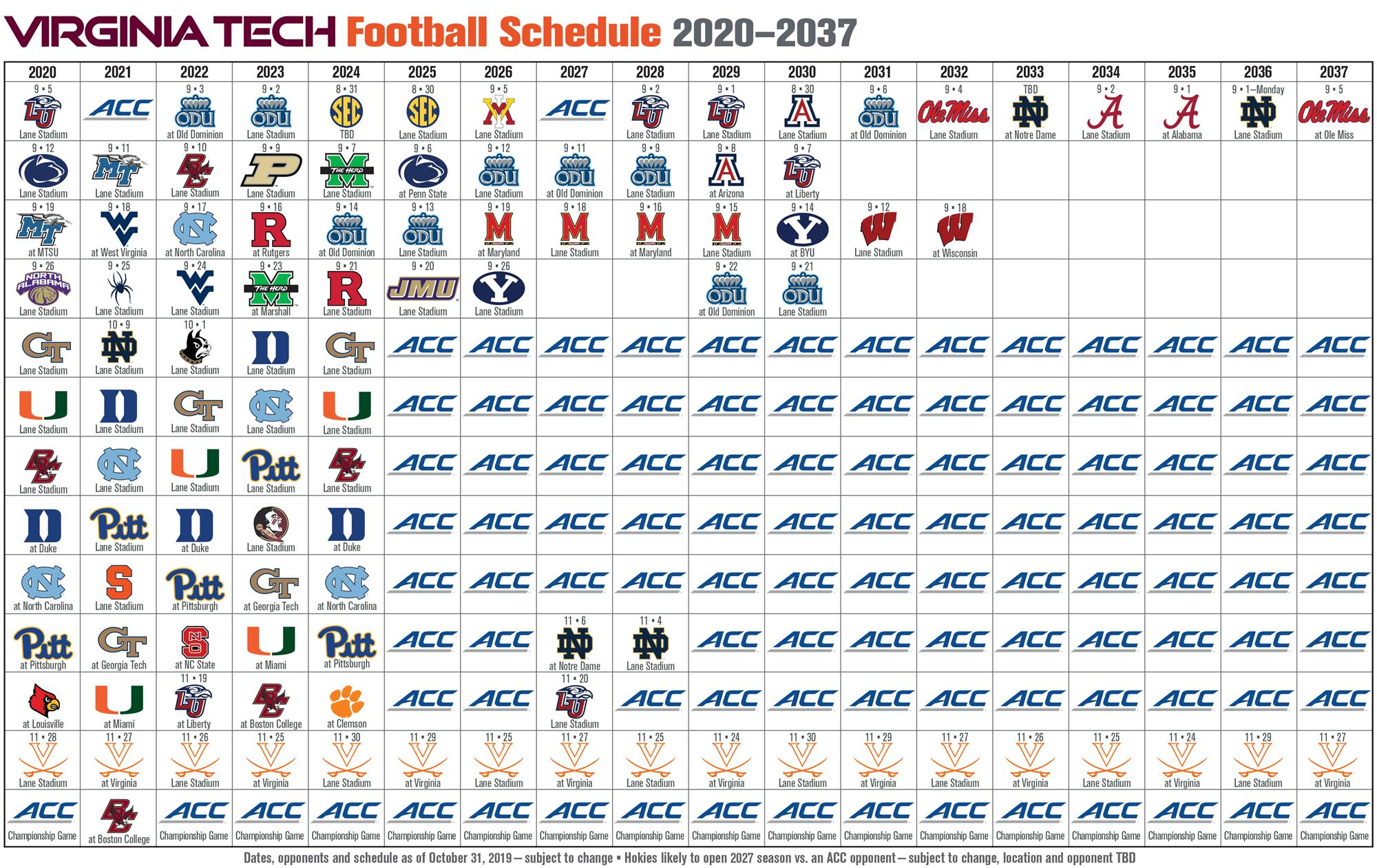 Virginia Tech Future Football Schedules | Techsideline Intended For Wake Tech Calendar 2021