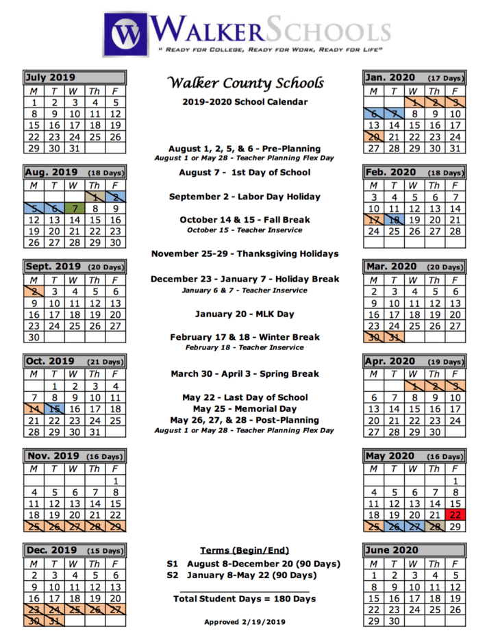 Walker County School System | Calendar intended for Fayette County Georgia School Calendar 2021