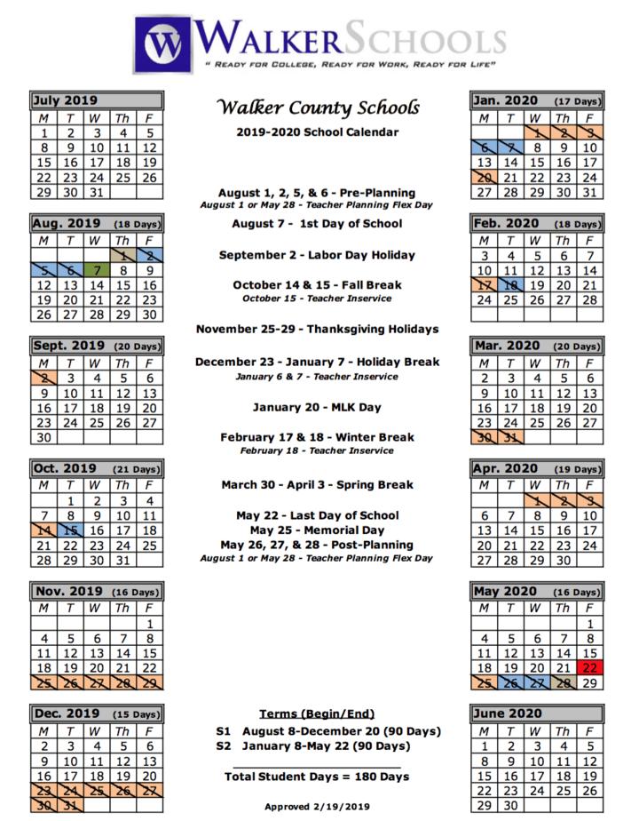 Walker County School System | Calendar With Regard To Fayette County Georgia School Calendar