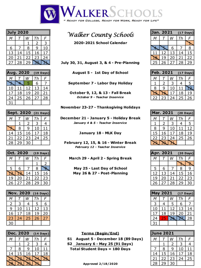 Walker County Schools Calendar 2020 And 2021 – Publicholidays Pertaining To Columbus State Calendar 2021 20