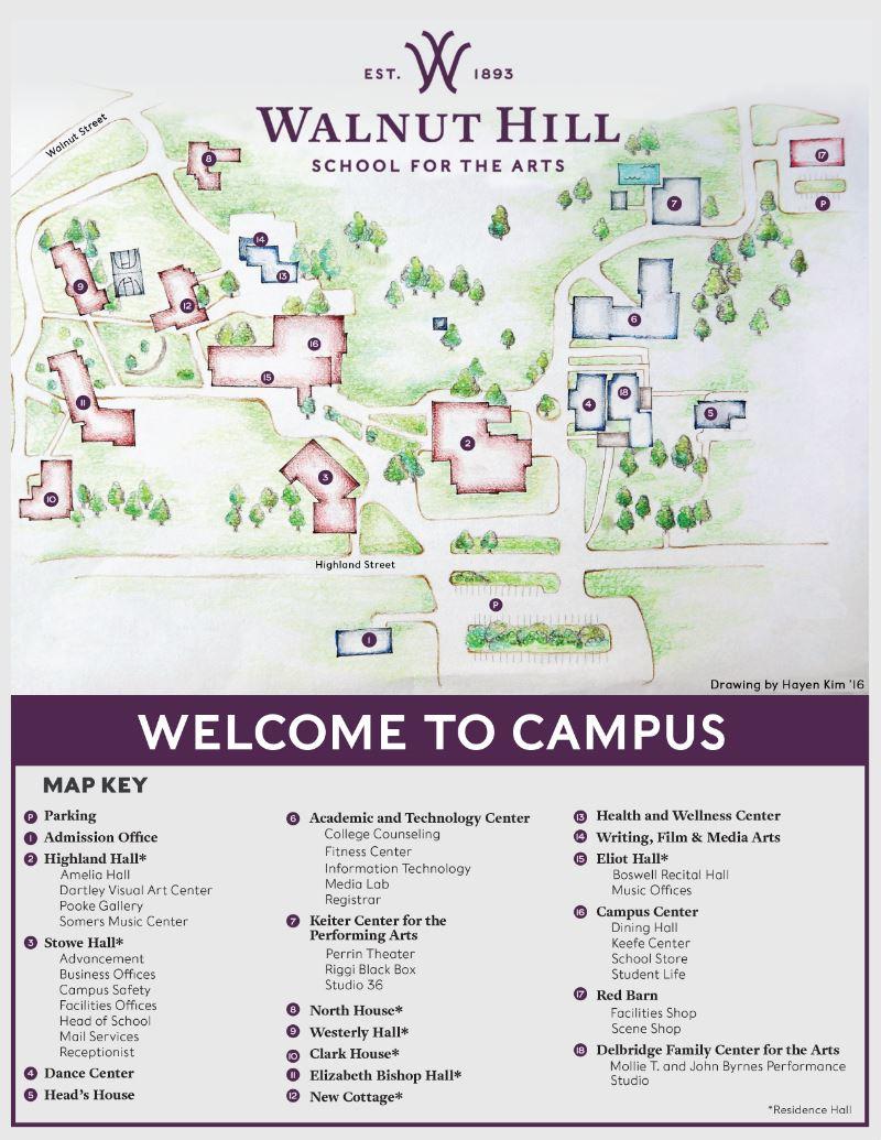 Walnut Hill School For The Arts | Maps & Directions Throughout Walnut Hills Highchool Calendar