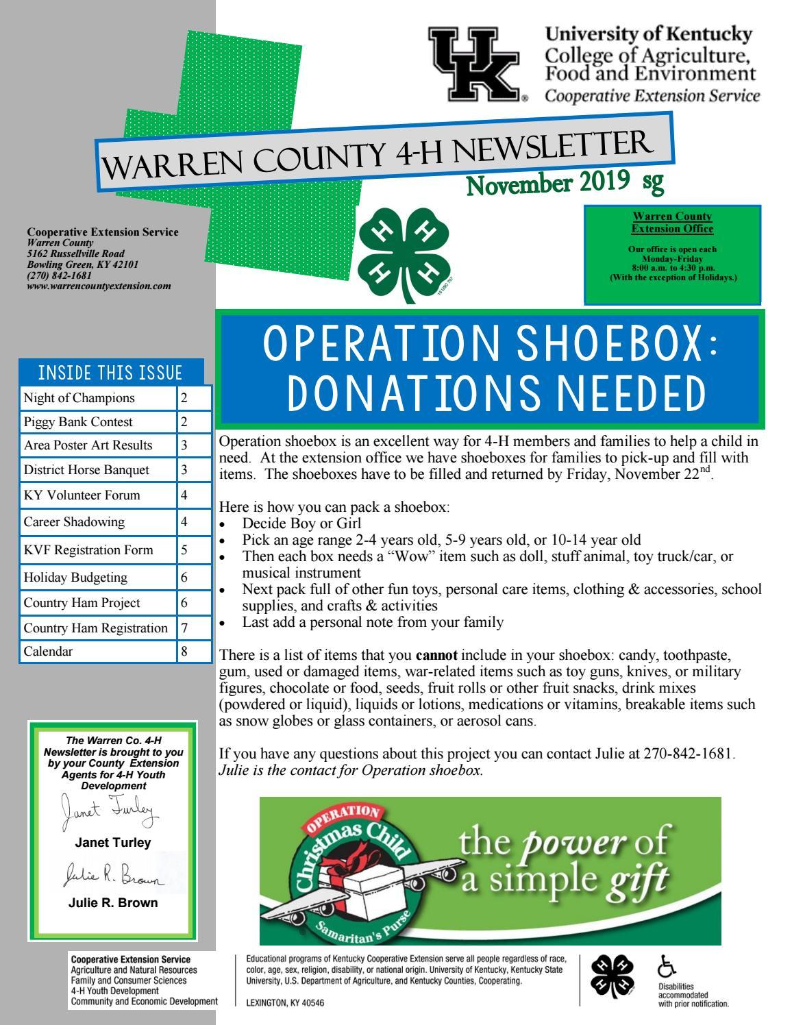 Warren Co. 4 H Newsletter: November 2019Warren County With Regard To Warren Co Ky School Spring Break