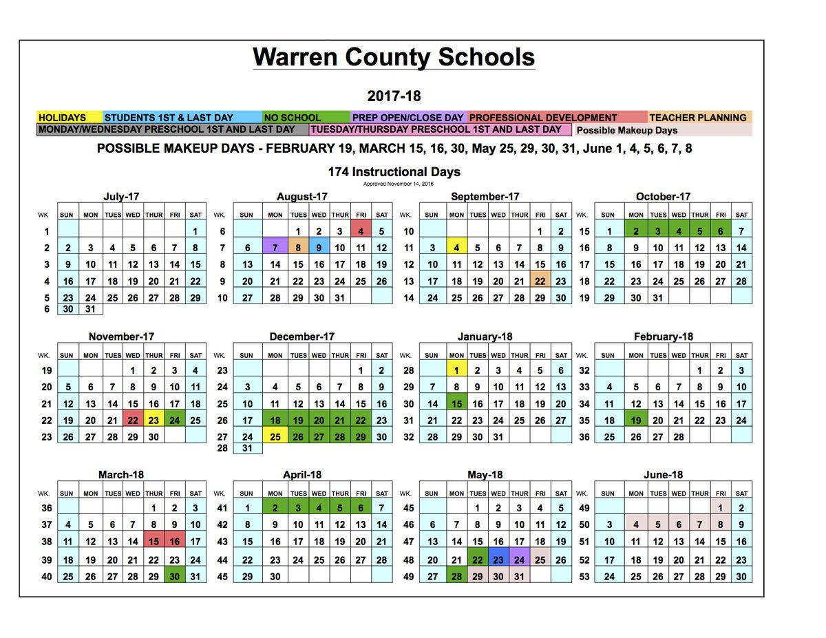"Warren Co Schools On Twitter: ""board Approves 2017 18 School With Regard To Warren Co Ky School Spring Break"