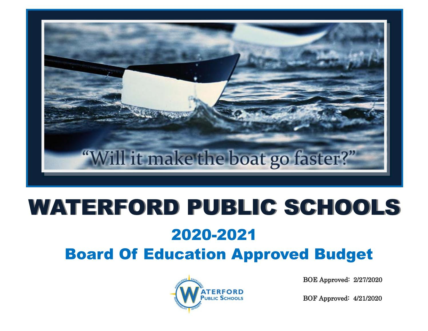 Waterford Board Of Education Fy21 Budget - Approvedthe Throughout Blue Valley Schools 2021 19 Calendar