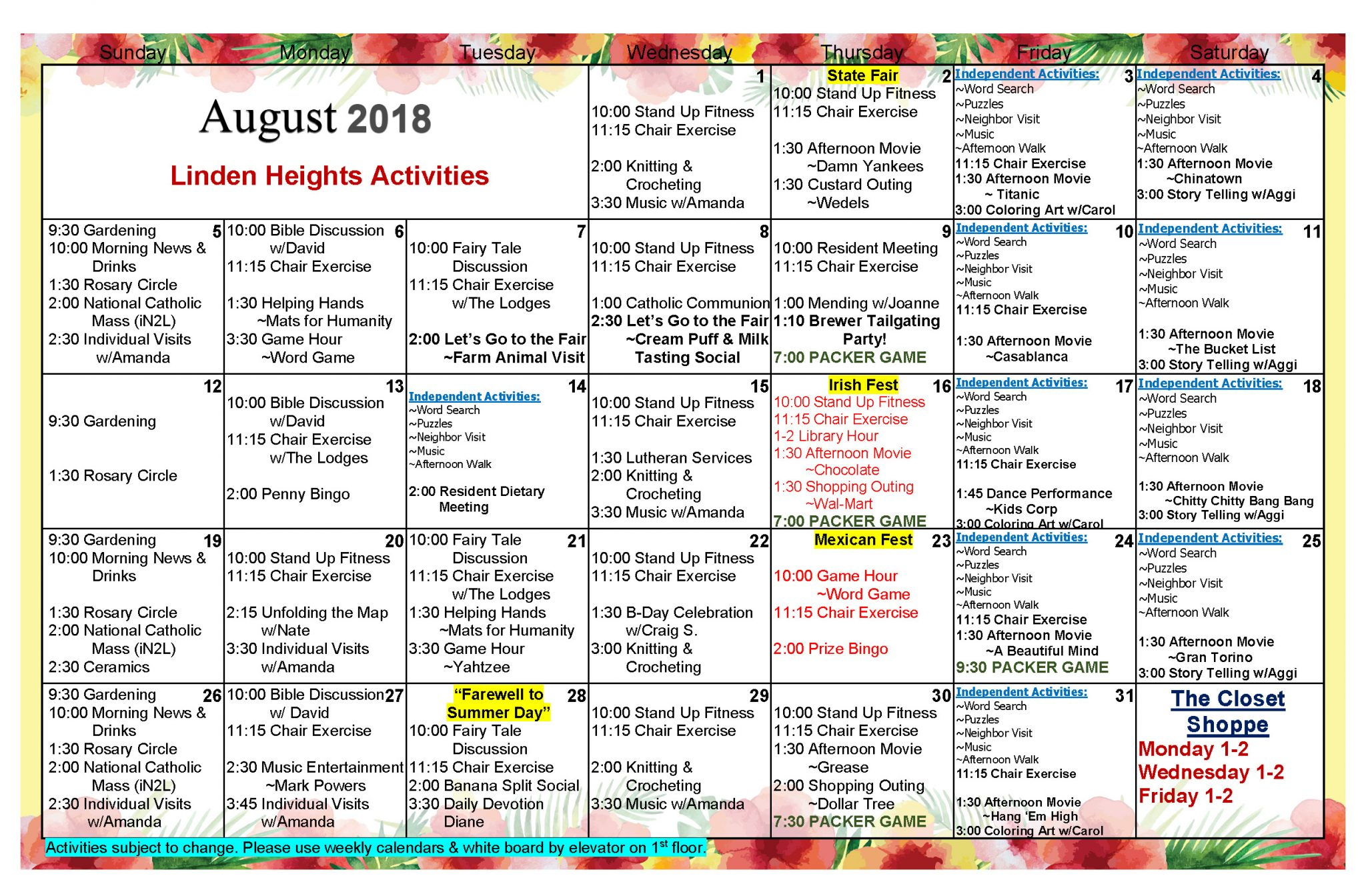 Waukesha Assisted Living Activities Calendar August 2018 With Assisted Living Activities Schedule