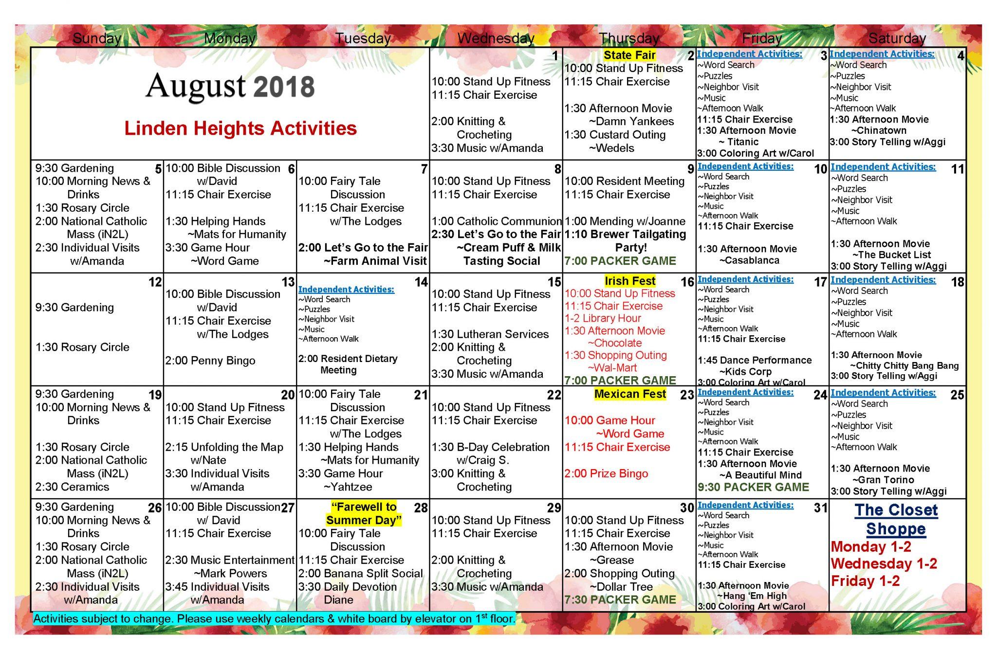 Waukesha Assisted Living Activities Calendar August 2018 With Assisted Living Activity Calendars