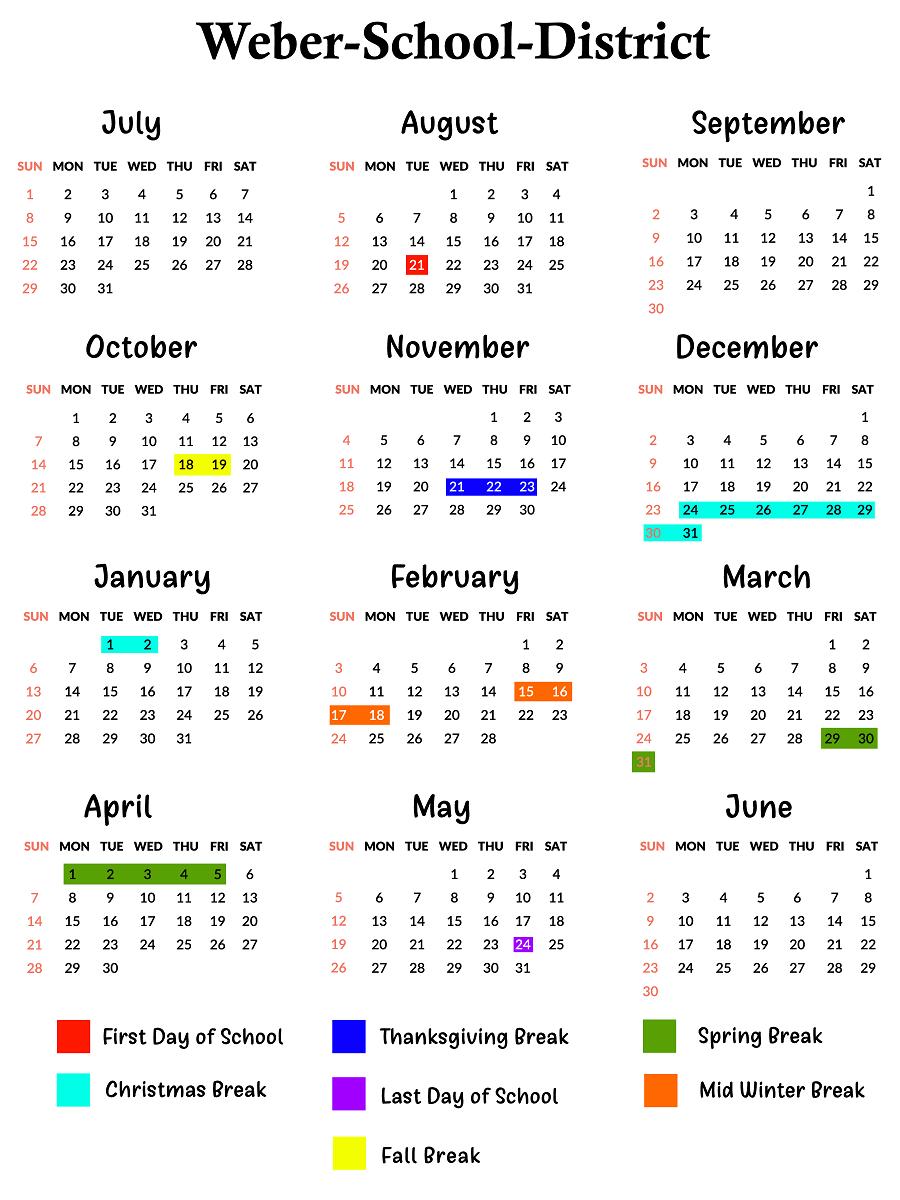 Weber County Schools Calendar | School Calendar, Calendar For Weber County School District Calendar