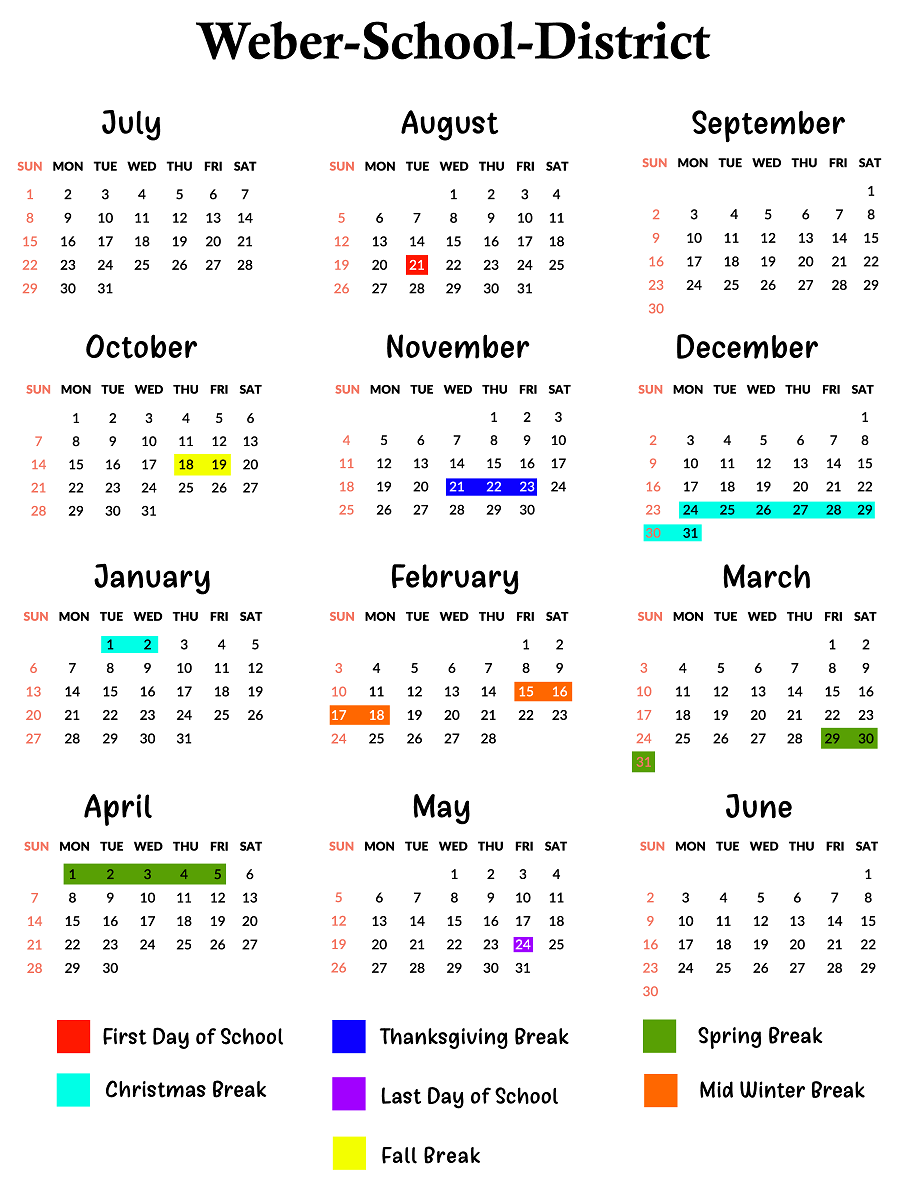 Weber County Schools Calendar | School Calendar, Calendar Pertaining To Weber County School Calendar 20