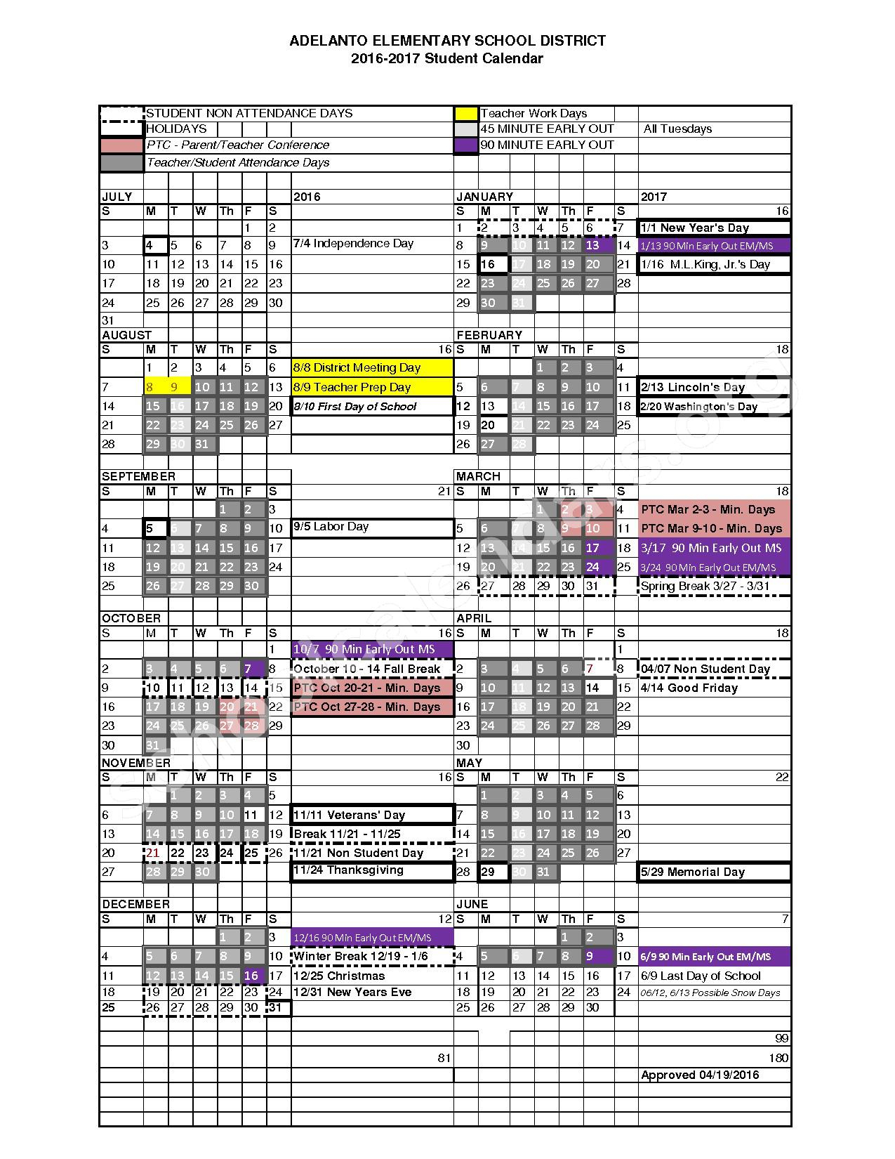 West Creek Elementary School Calendars – Victorville, Ca Regarding Victorville Elementary School Calendar