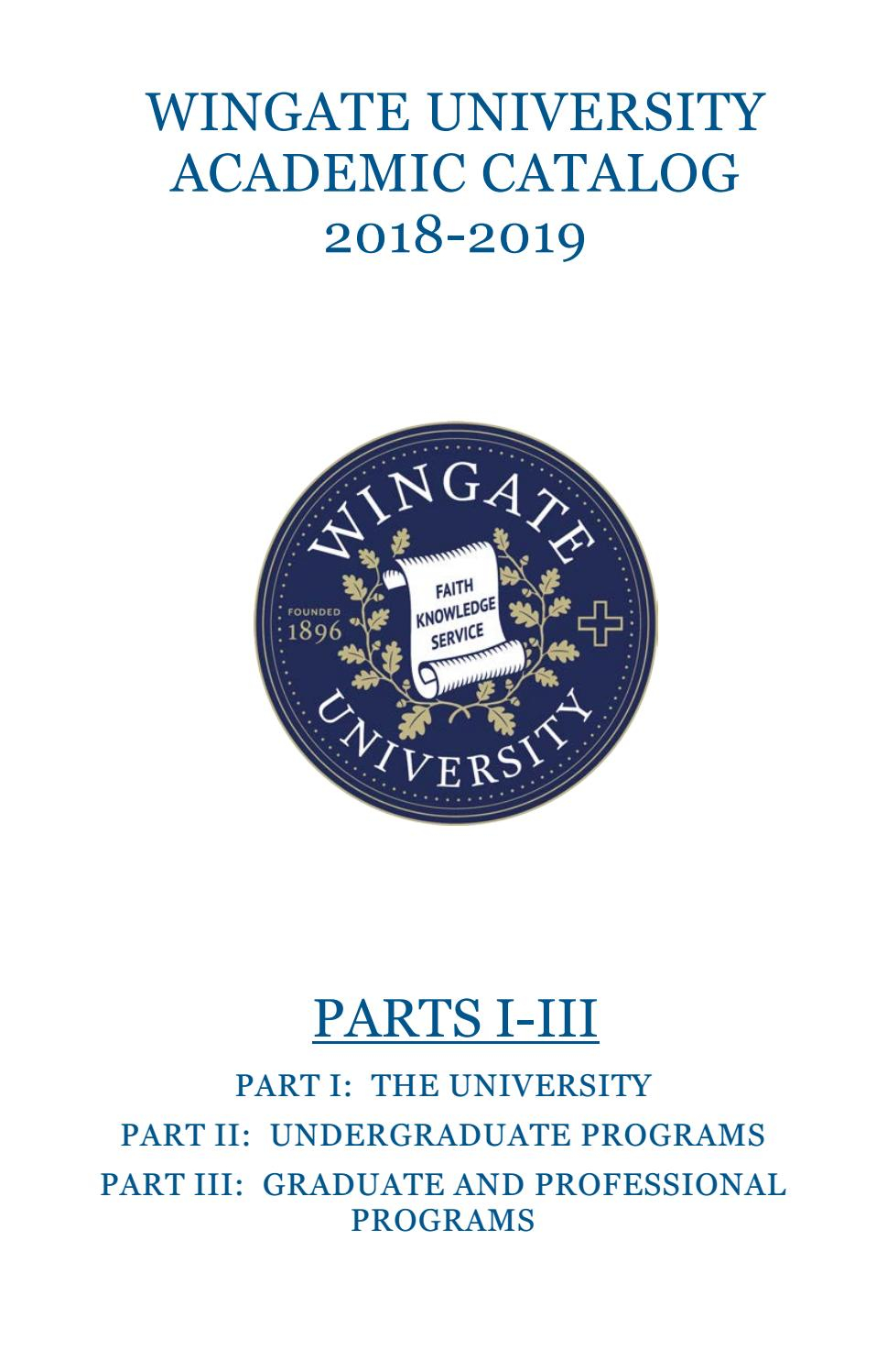 Wingate University Academic Catalog 2018 2019 First Edition Intended For Humboldt State University Academic Calendar 2021