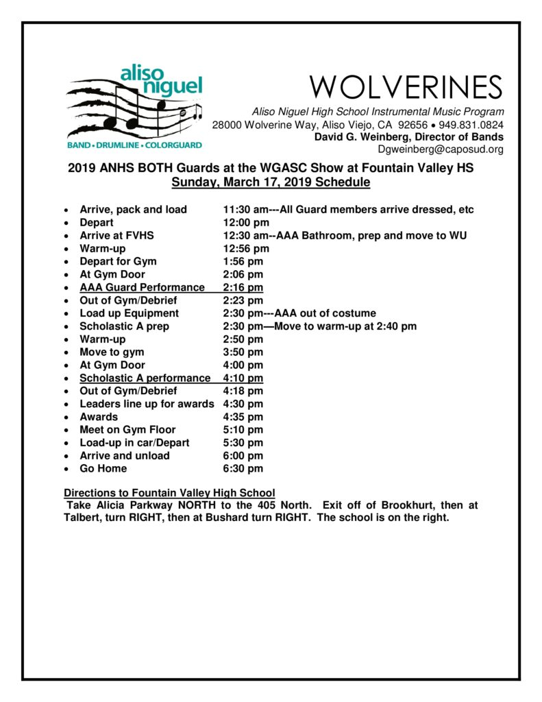 Winter Color Guard Both – Wgasc Show @ Fountain Valley Hs Within Fountain Valley Hs Holiday Schedule