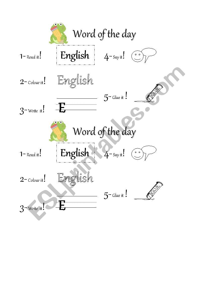 Word Of The Day - Esl Worksheetgildachio For Word Of The Day Printouts