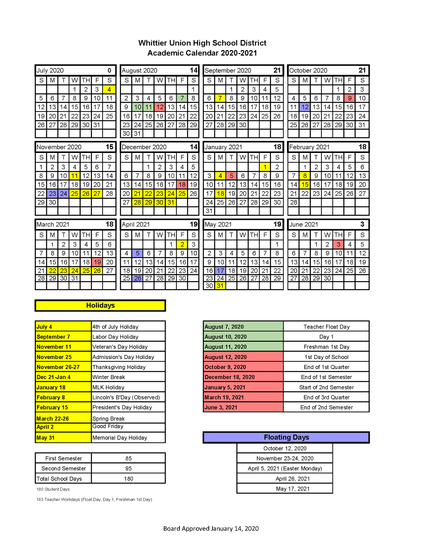 Wuhsd Academic Calendars – District Information – Whittier In La Serna School Year Calendar