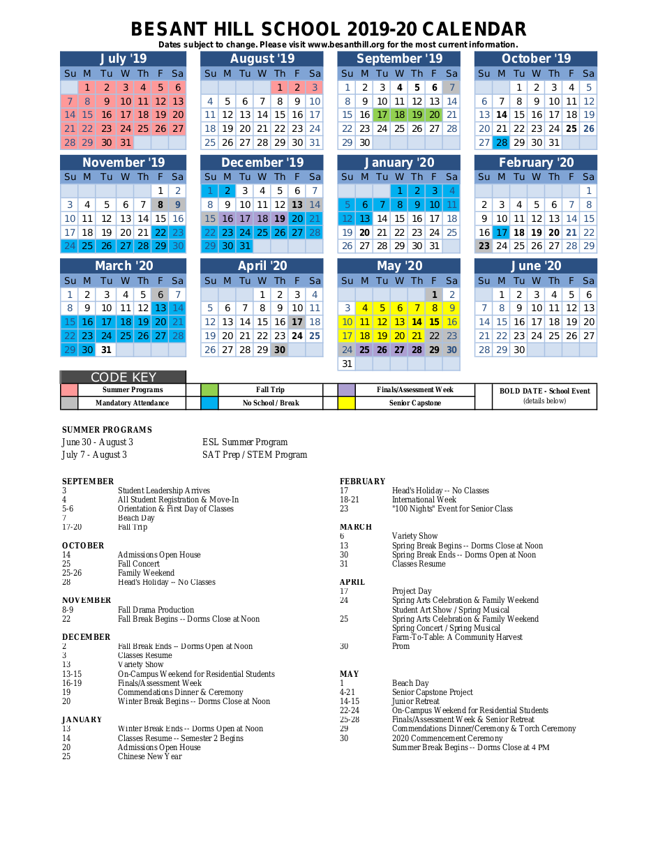 Yearly Calendar – Besant Hill School Of Happy Valley In Dos Pueblos High School Calendar 2021