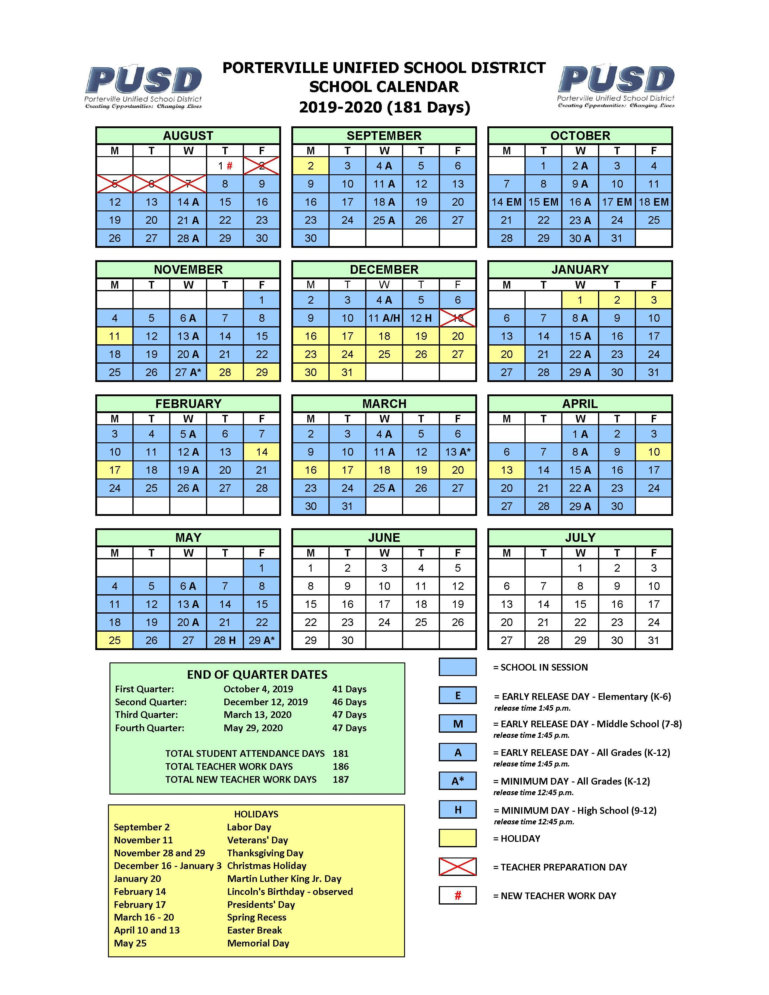 Yearly Calendar – Calendars – Porterville Unified School intended for Porterville School Calendar