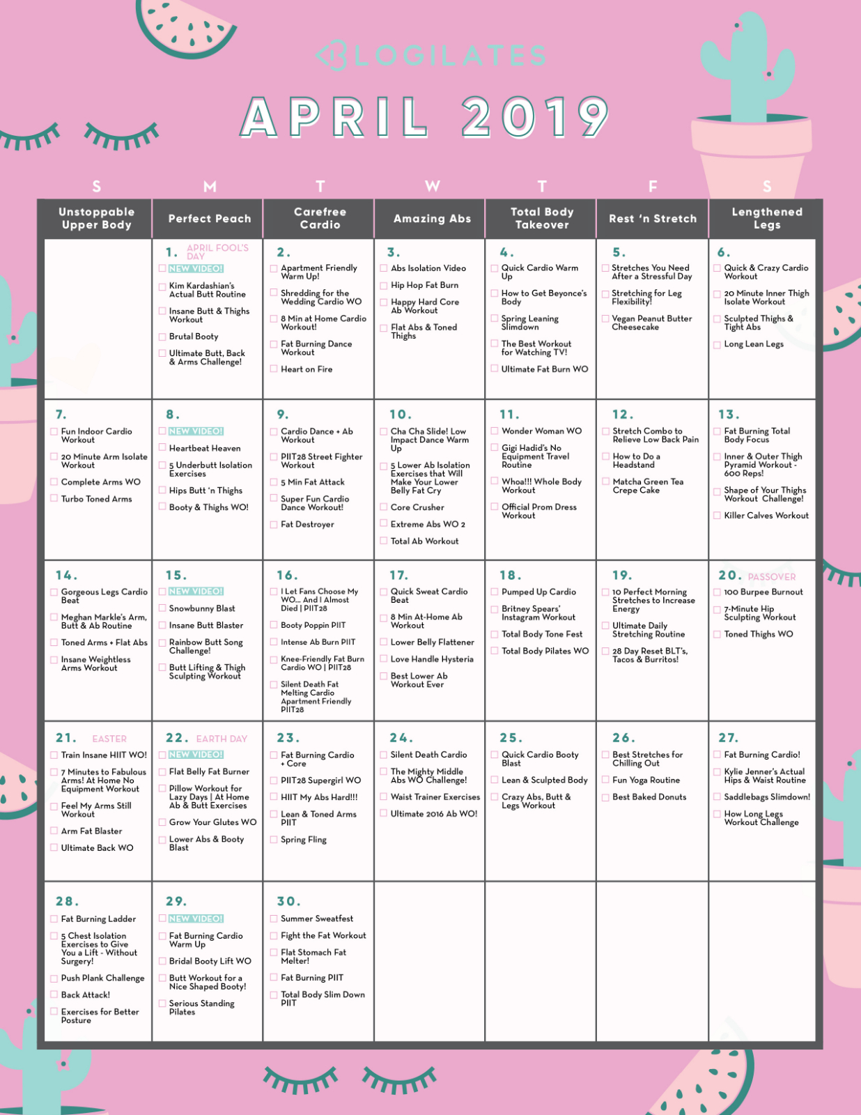 Your April Workout Calendar! – Blogilates Intended For April Fitness Challenge Calendar