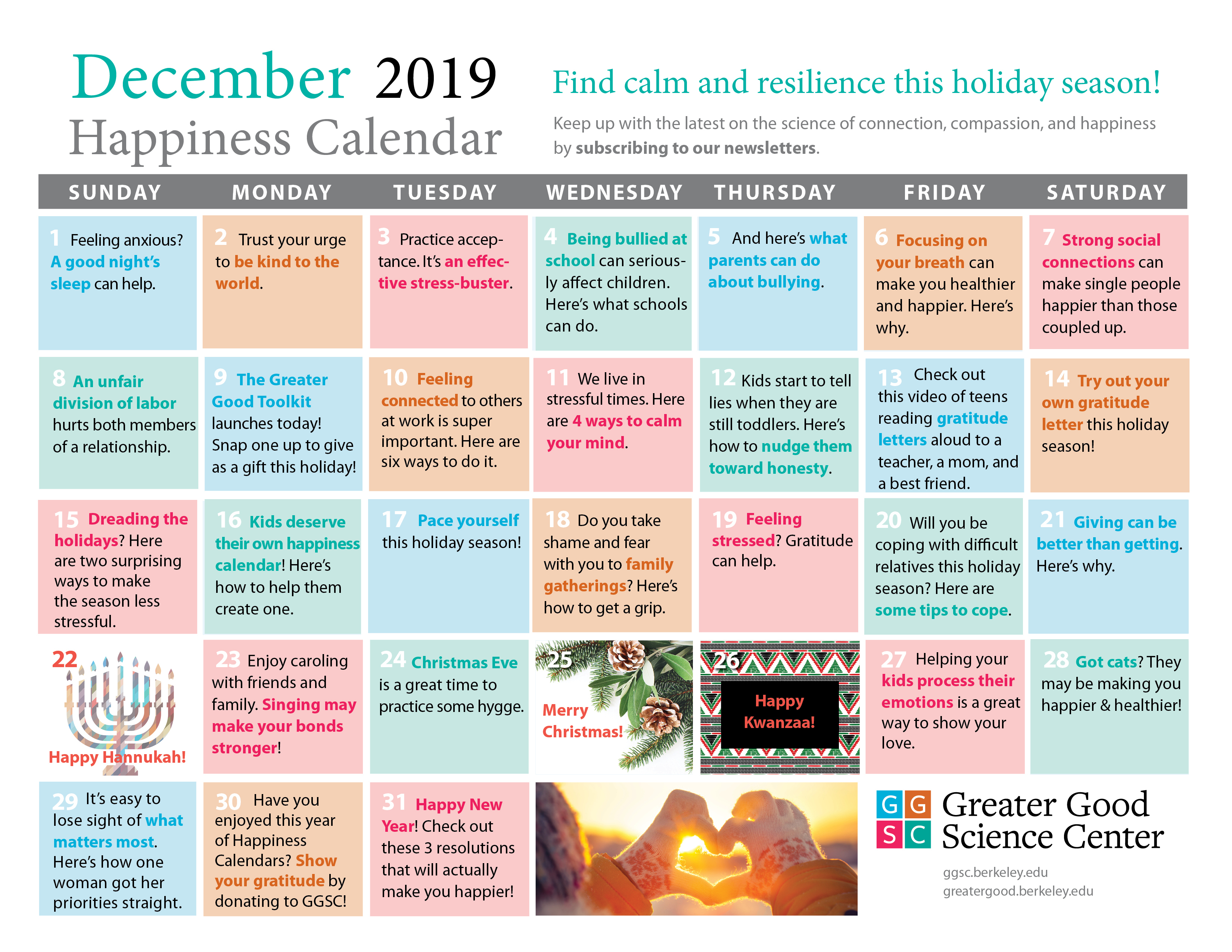 Your Happiness Calendar For December 2019 Within Find Me An Everyday Is A Holiday Calendar