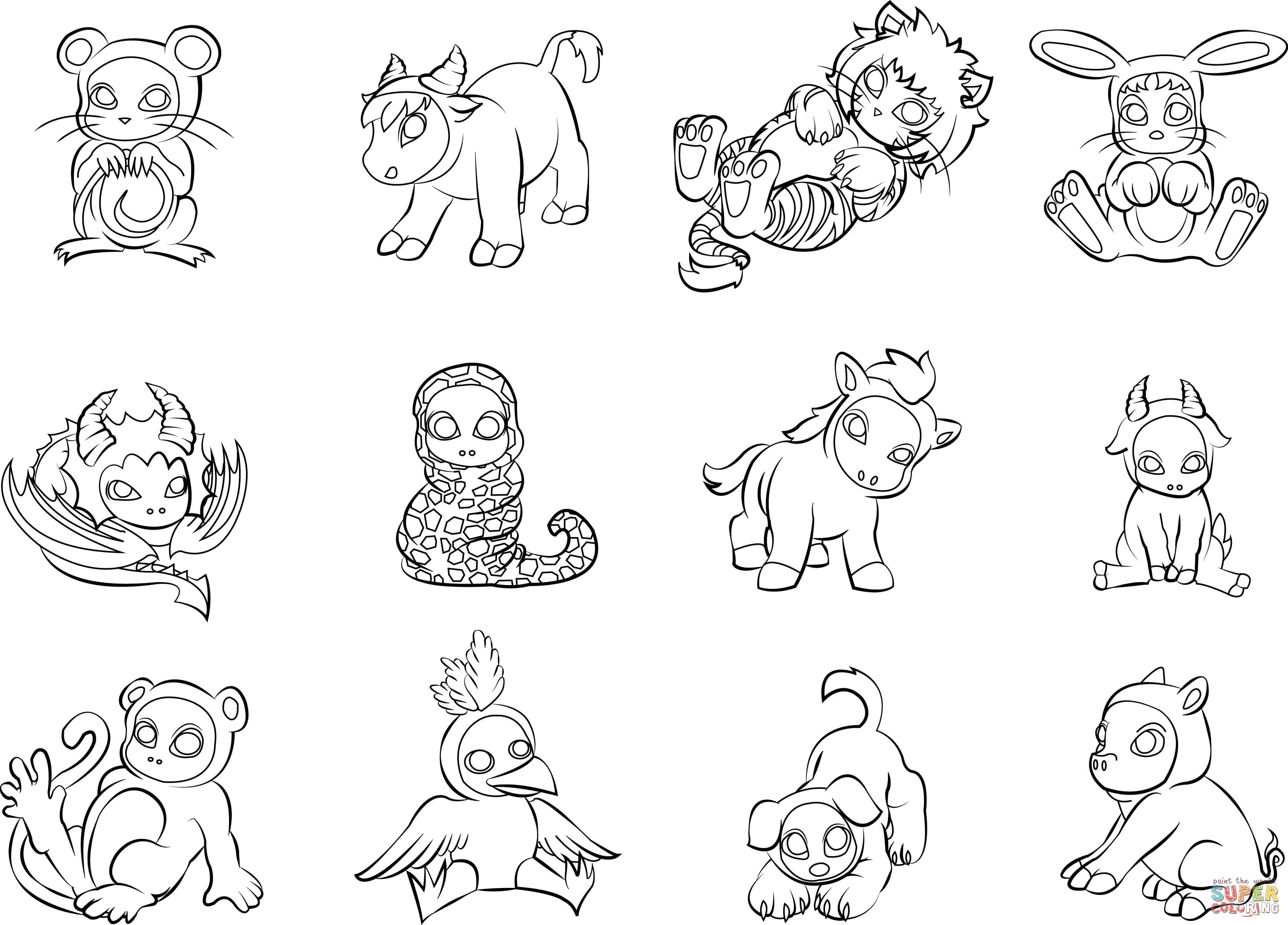 12 Chinese Zodiac Animals Coloring Page | Free Printable In Chinese Calendar Animals Free Printable