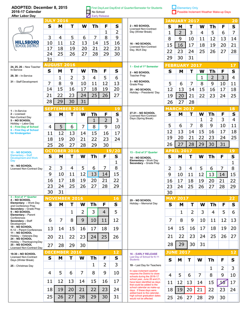2016 17 District Calendar – Hillsboro School District Intended For North Penn School District Calendar