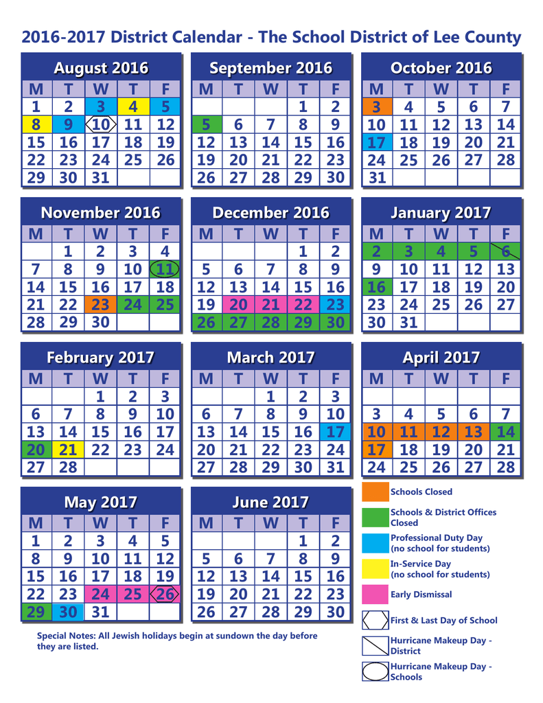 2016 2017 District Calendar – The School District Of Lee County Inside North Penn School District Calendar