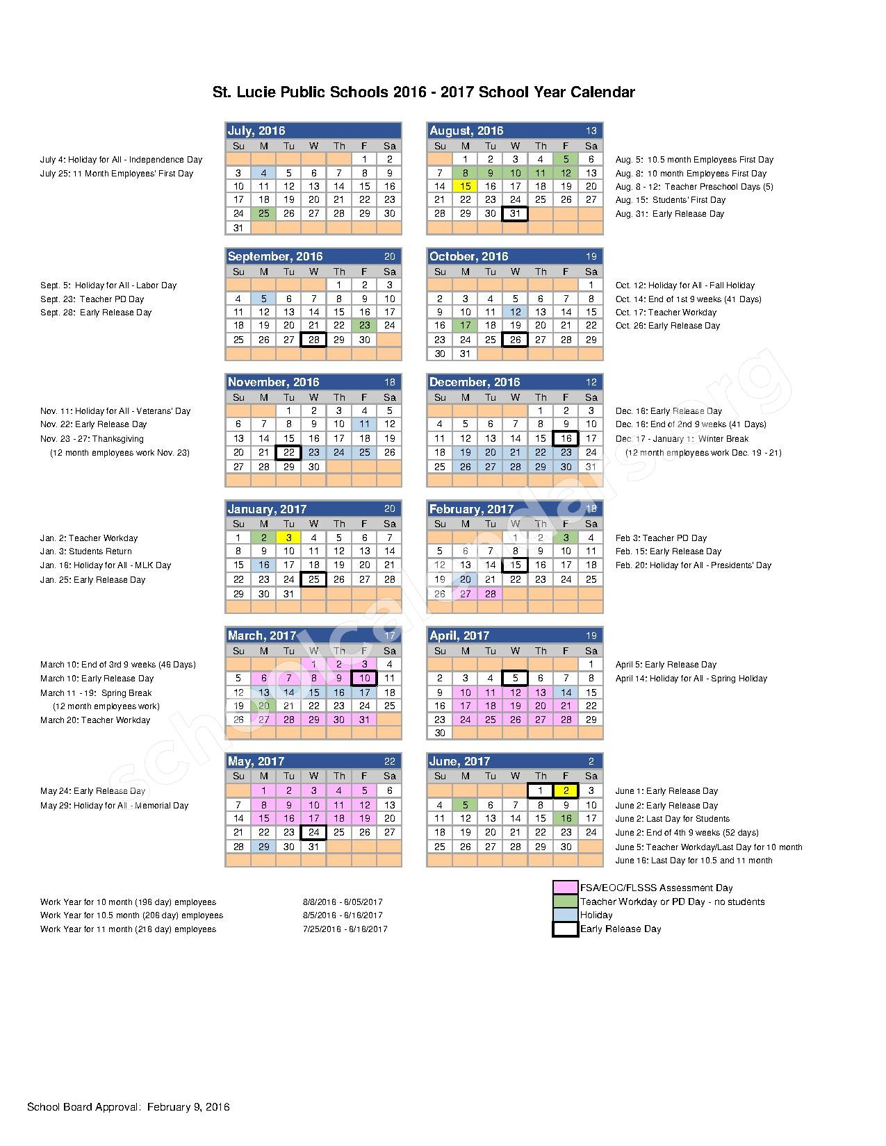2016 - 2017 School Calendar | St. Lucie County School Intended For Port St Lucie School District Calendar