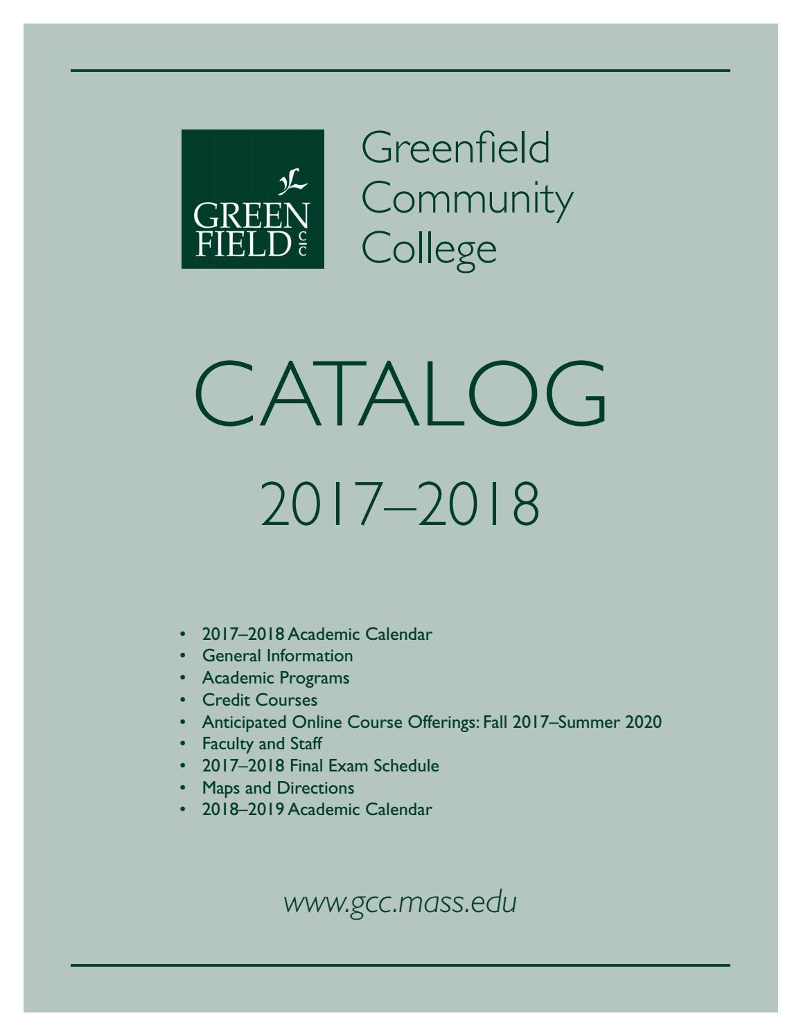 2017 18 Gcc Academic Cataloggreenfield Community College Within Suffolk Community College Academic Calendar