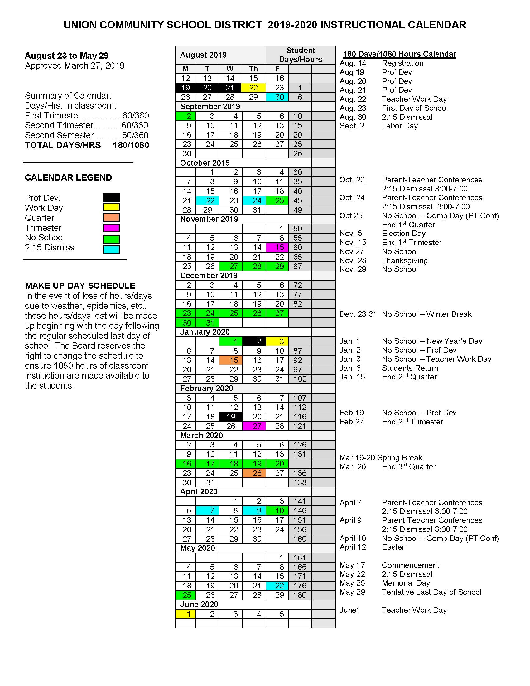 2019 2020 Approved Calendar - Union Community School District Within Cedar Rapids School District Calendar