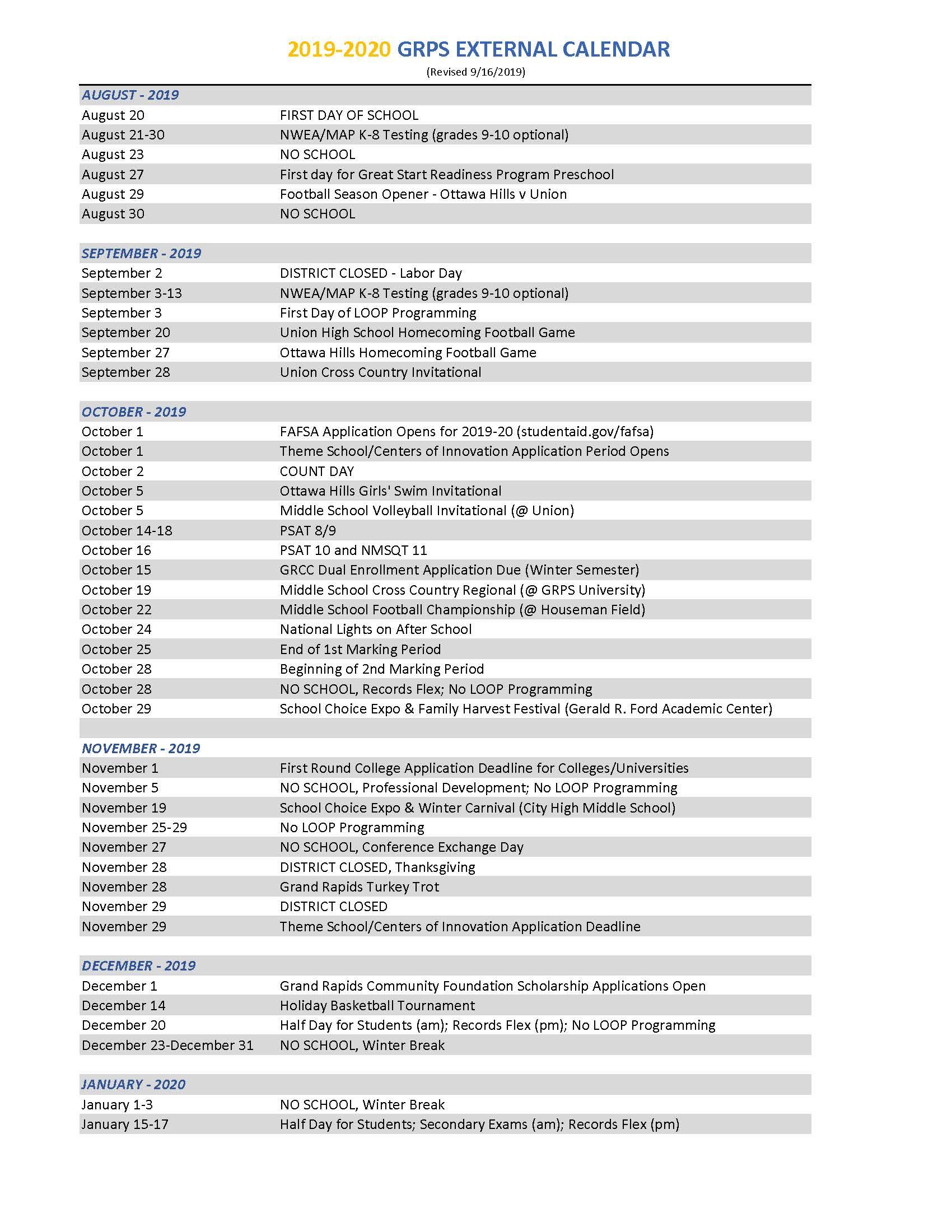 2019 2020 District Calendar Throughout Spring Break For Grand Rapids Public Schools