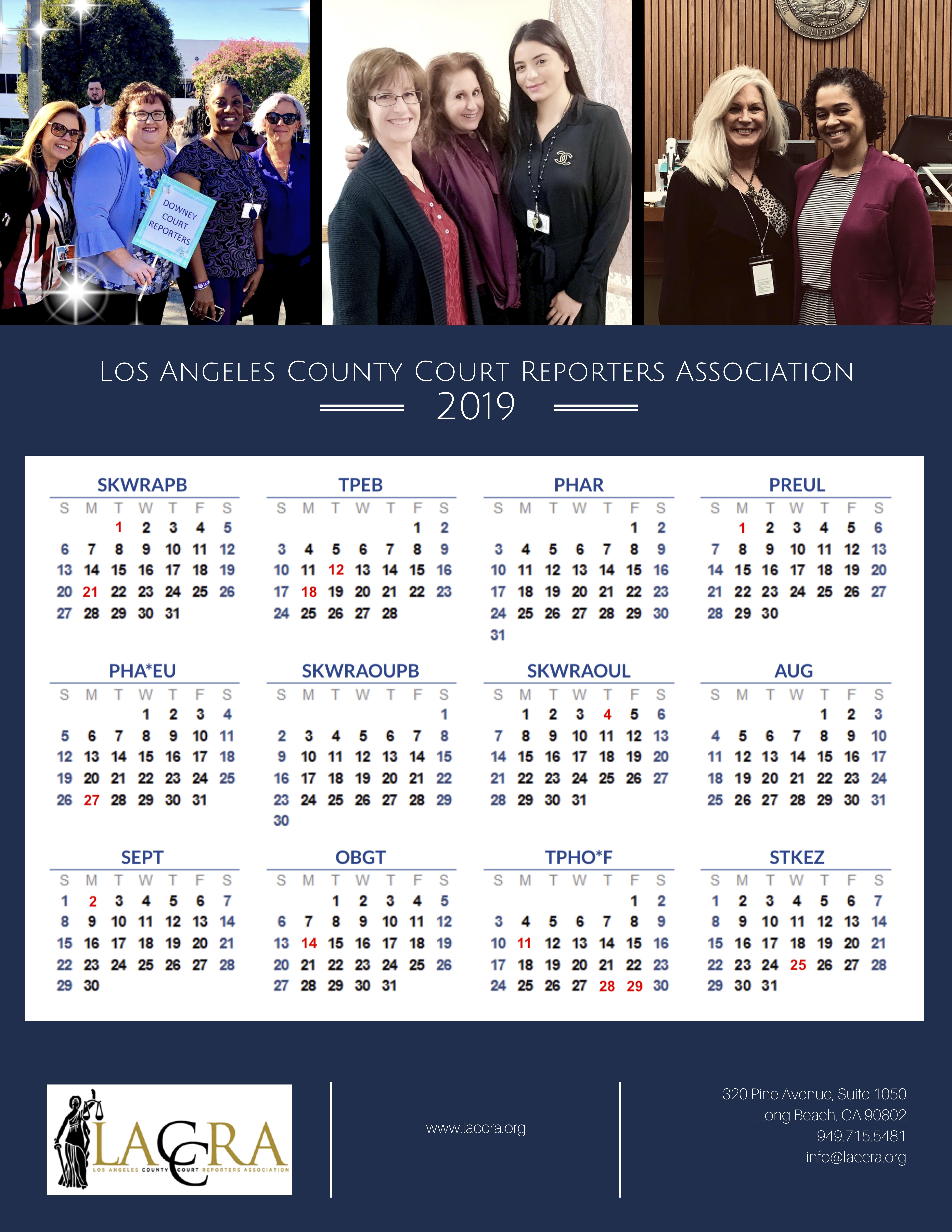 2019 Calendar Throughout Los Angeles Suprior Court Calendar