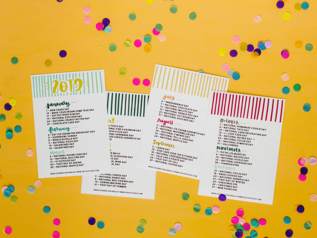 """2019 """"Everyday Holiday"""" Printable Calendar Inside Every Day Is A Holiday Printable"""