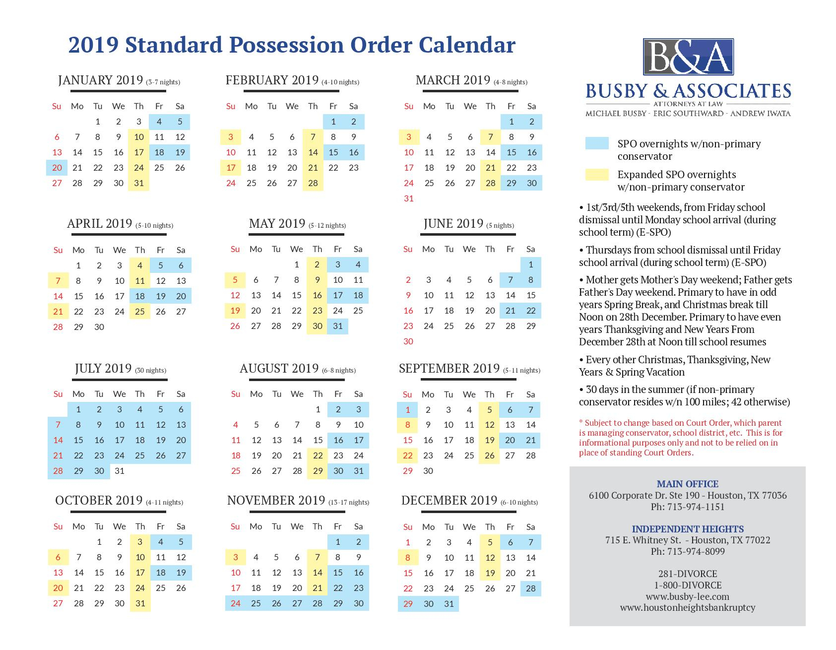 2019 Standard Possession Order & Parenting Time | Family Law Pertaining To Attorney General Texas Calender