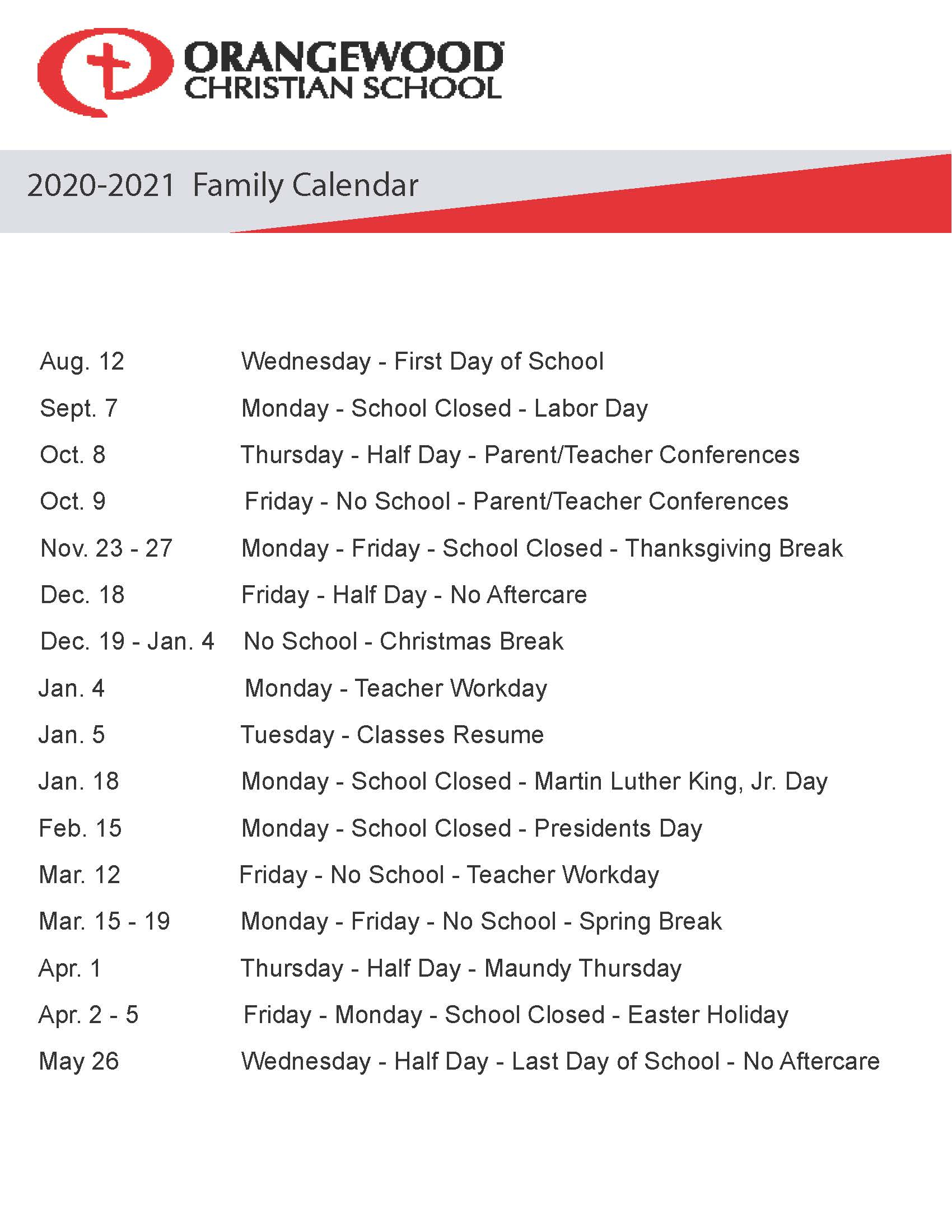 2020 2021 Family Calendar - Orangewood Christian School Intended For Full Sail University Spring Calendar 202 2021