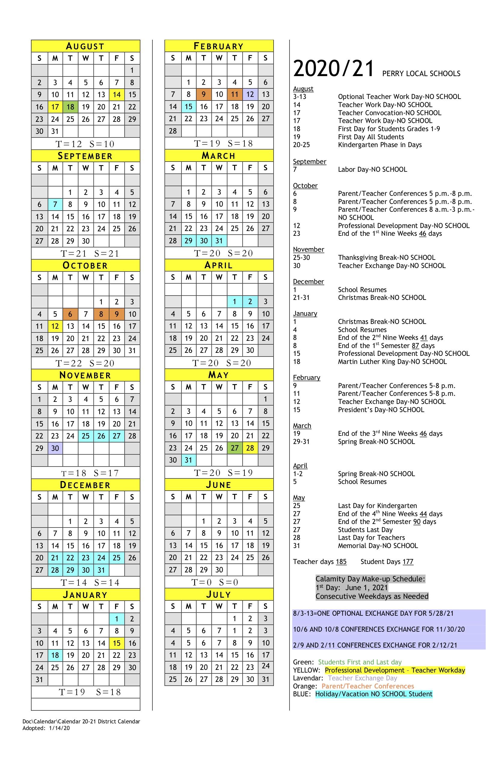 2020 2021 School Year District Calendar – Perry High School Inside Dare County School Calendar 2021