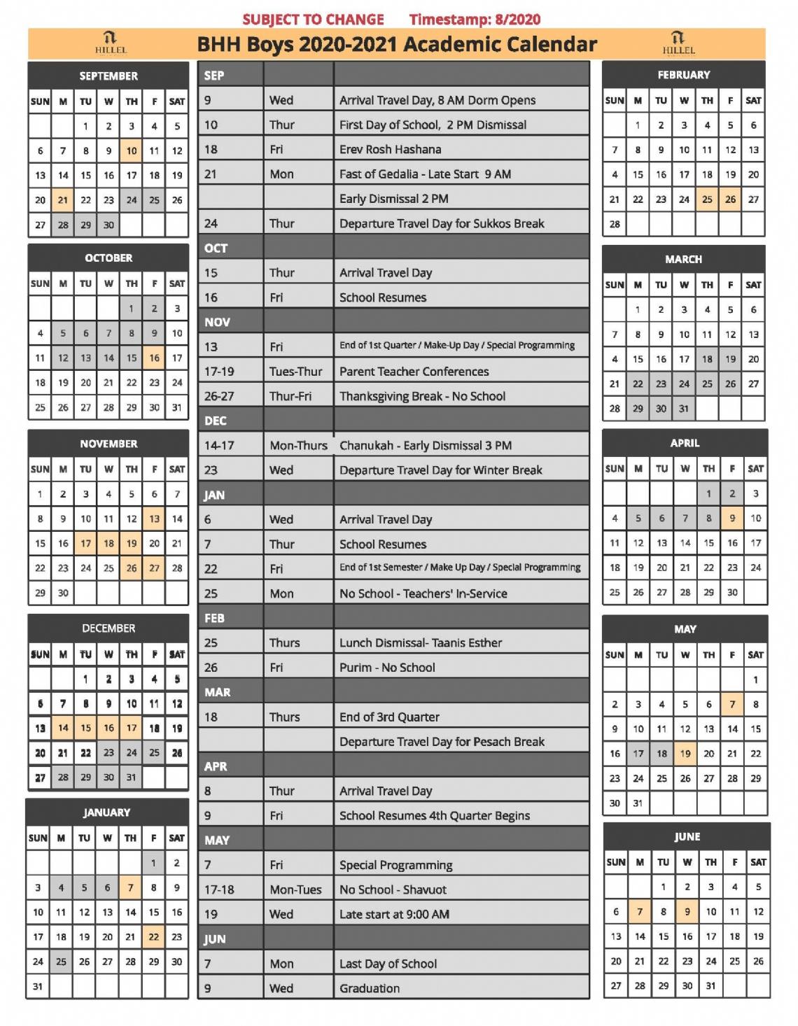 2020 21 School Calendar – Bader Hillel High Regarding Green Bay School District 2020 Calander