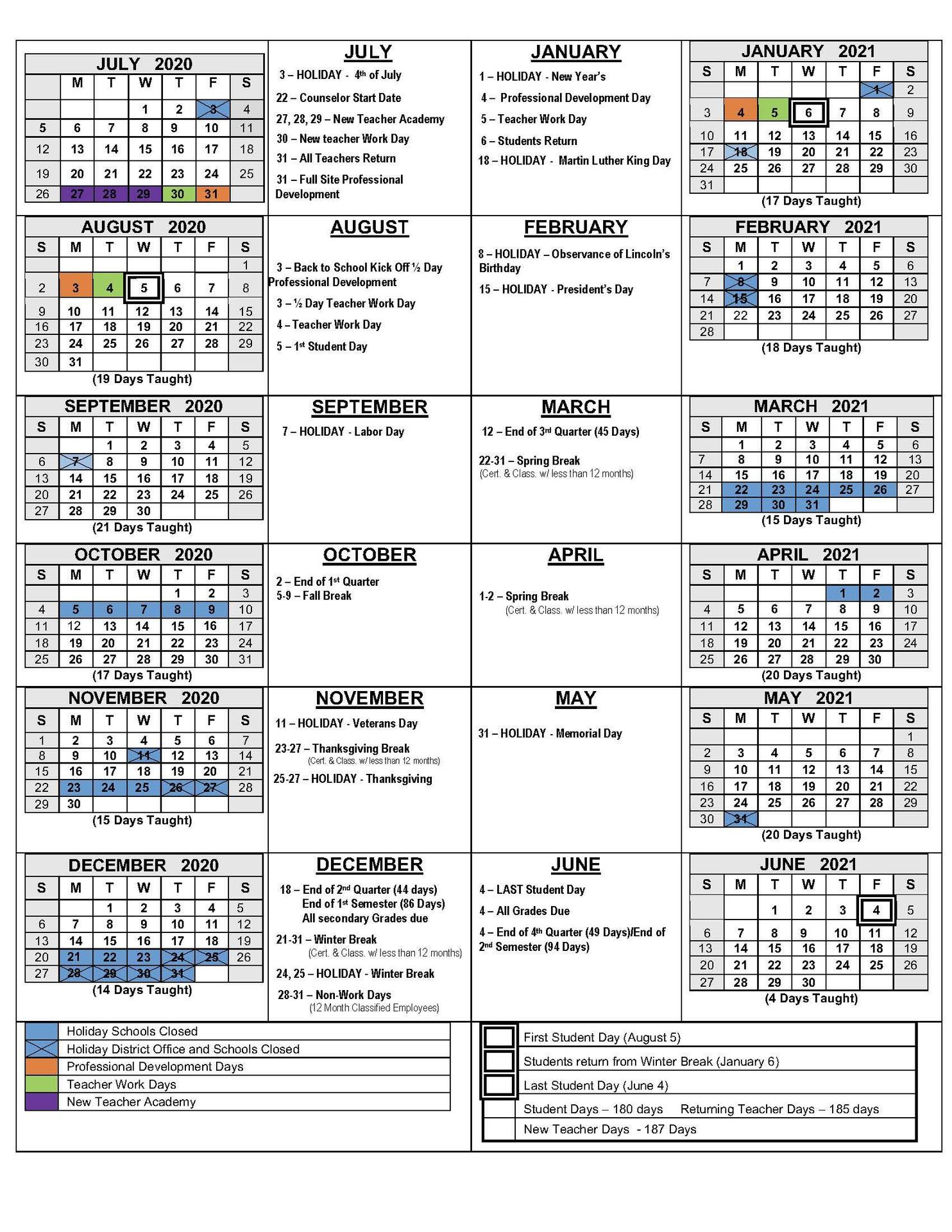 2020 21 School Calendars – Academic Calendars – Monterey Pertaining To Salinas Union High School District Calender