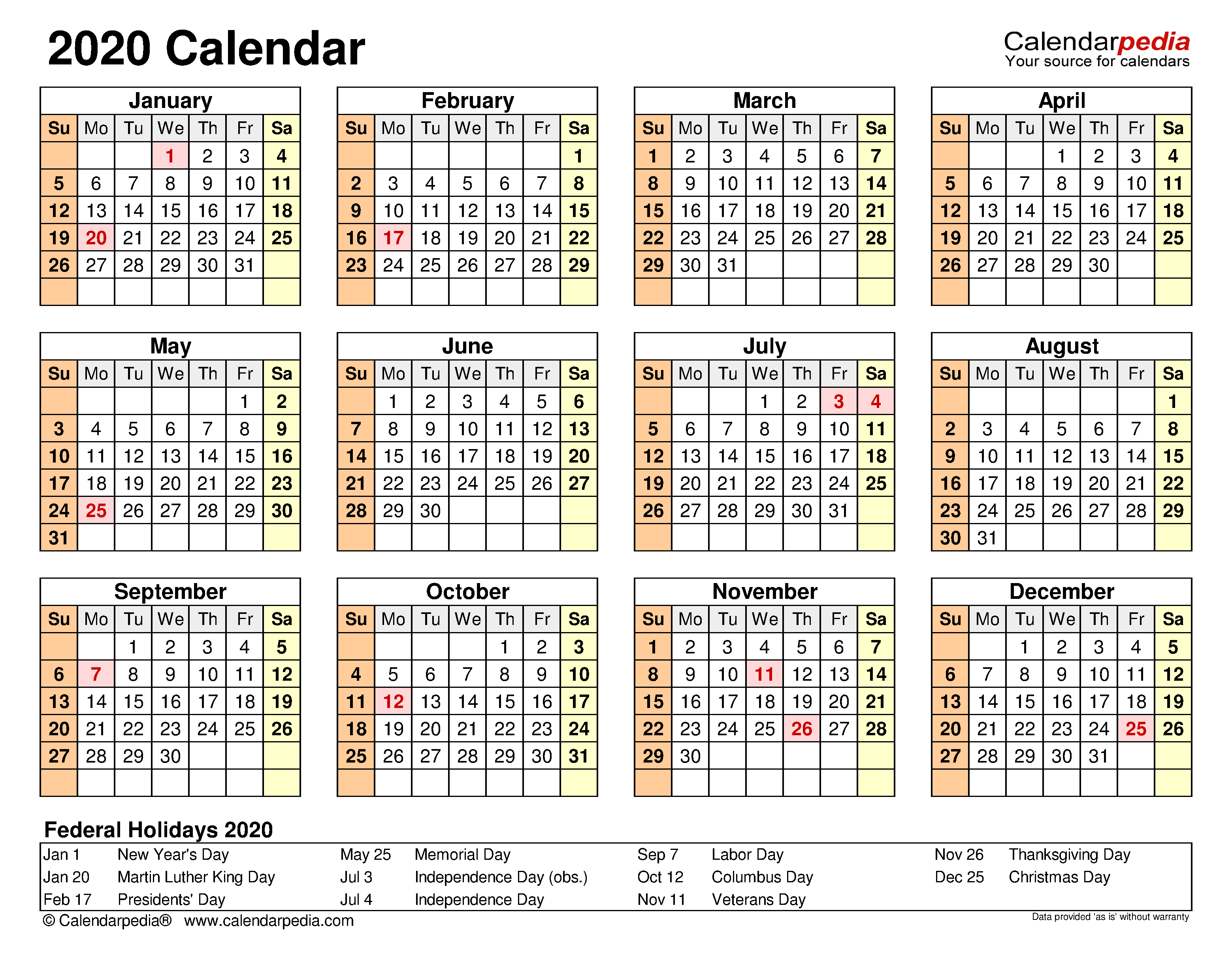 2020 Calendar - Free Printable Microsoft Excel Templates For Printable Calender With Days O The Year