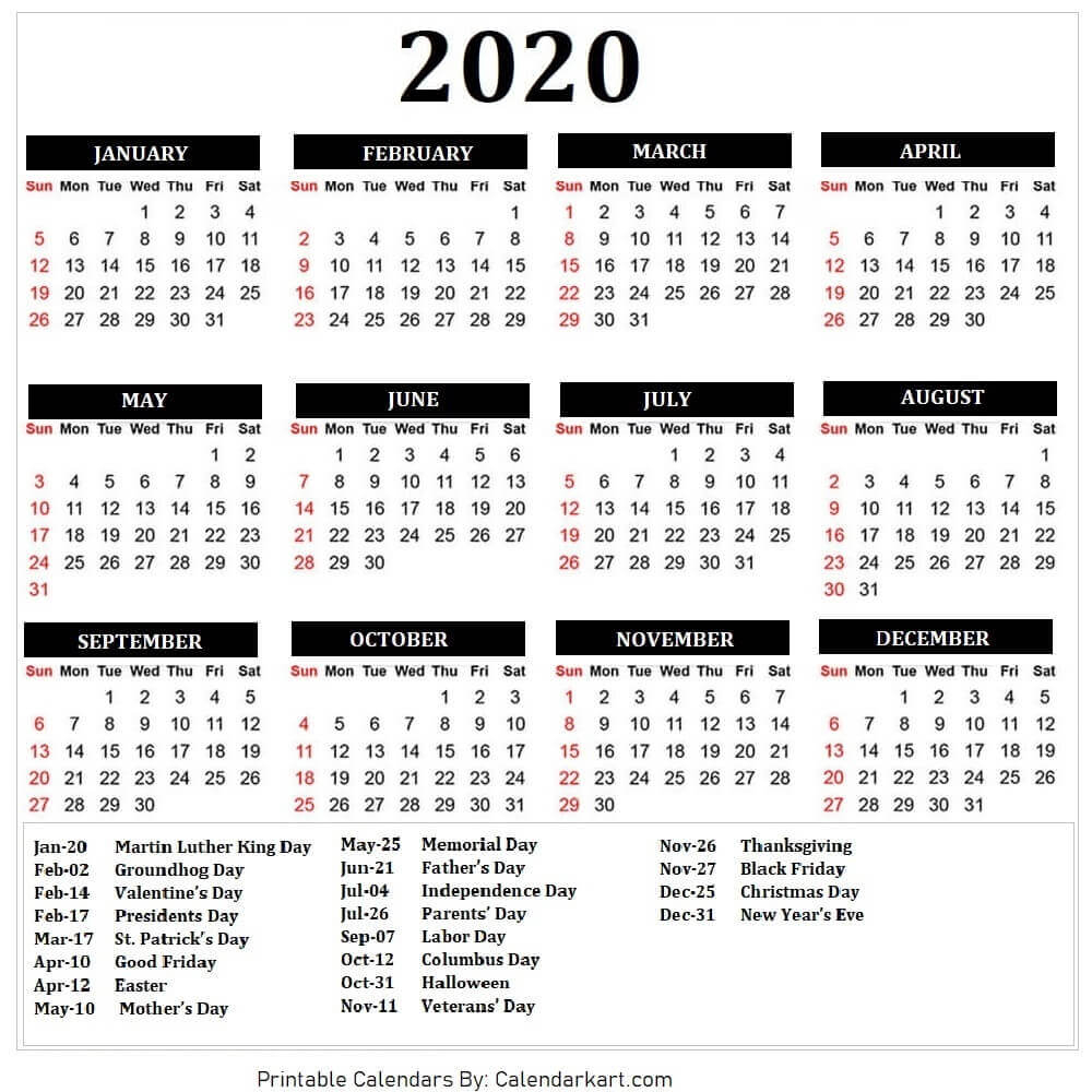 2020 Calendar Free Printable Template With Printable Calender With Days O The Year