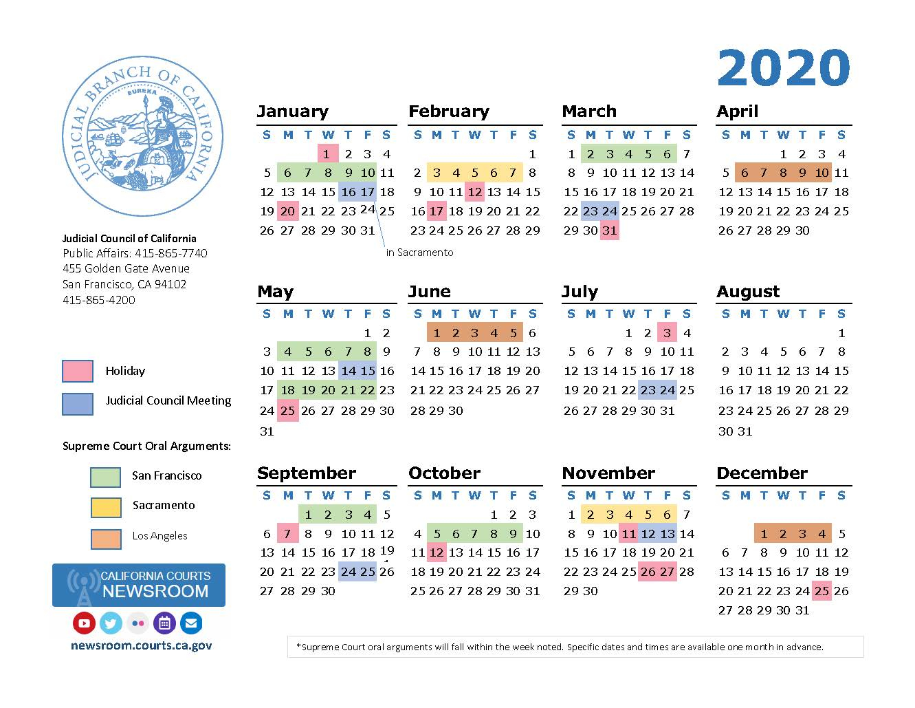 2020 California Courts Calendar | California Courts Newsroom throughout Los Angeles Suprior Court Calendar