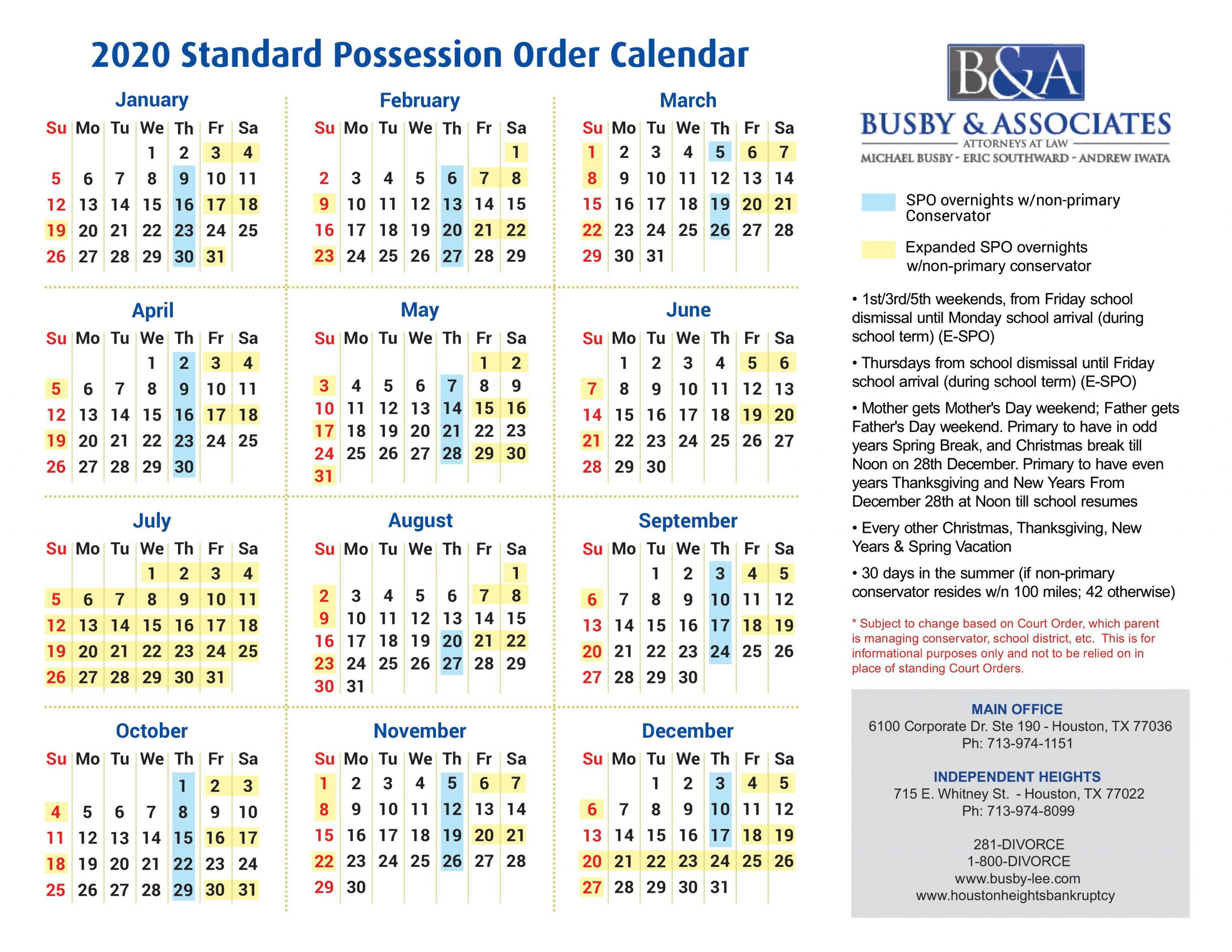 2020 Standard Possession Order Texas - Houston Divorce Lawyer With Regard To Attorney General Texas Calender