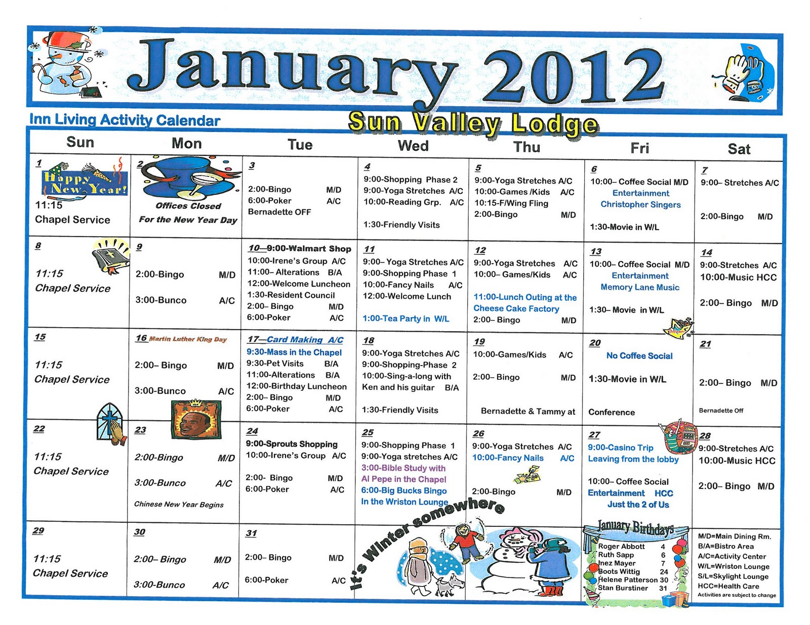 24 Best Calendars/highlight Monthly Activities Images Intended For Assisted Living Activity Calendar Ideas