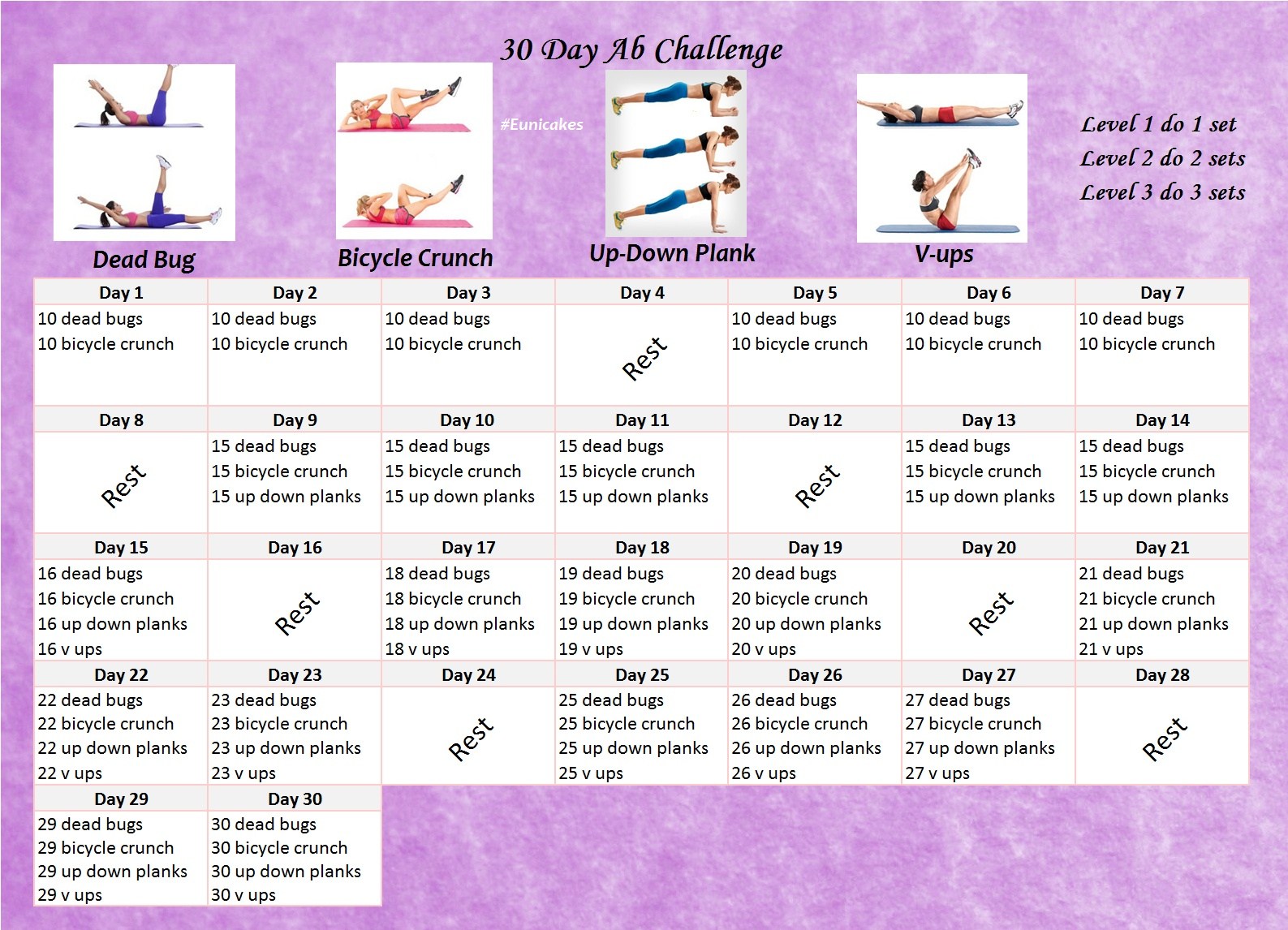 30 Day Ab Challenge | Eunicakes Pertaining To 30 Day Tummy Challenge Calendar